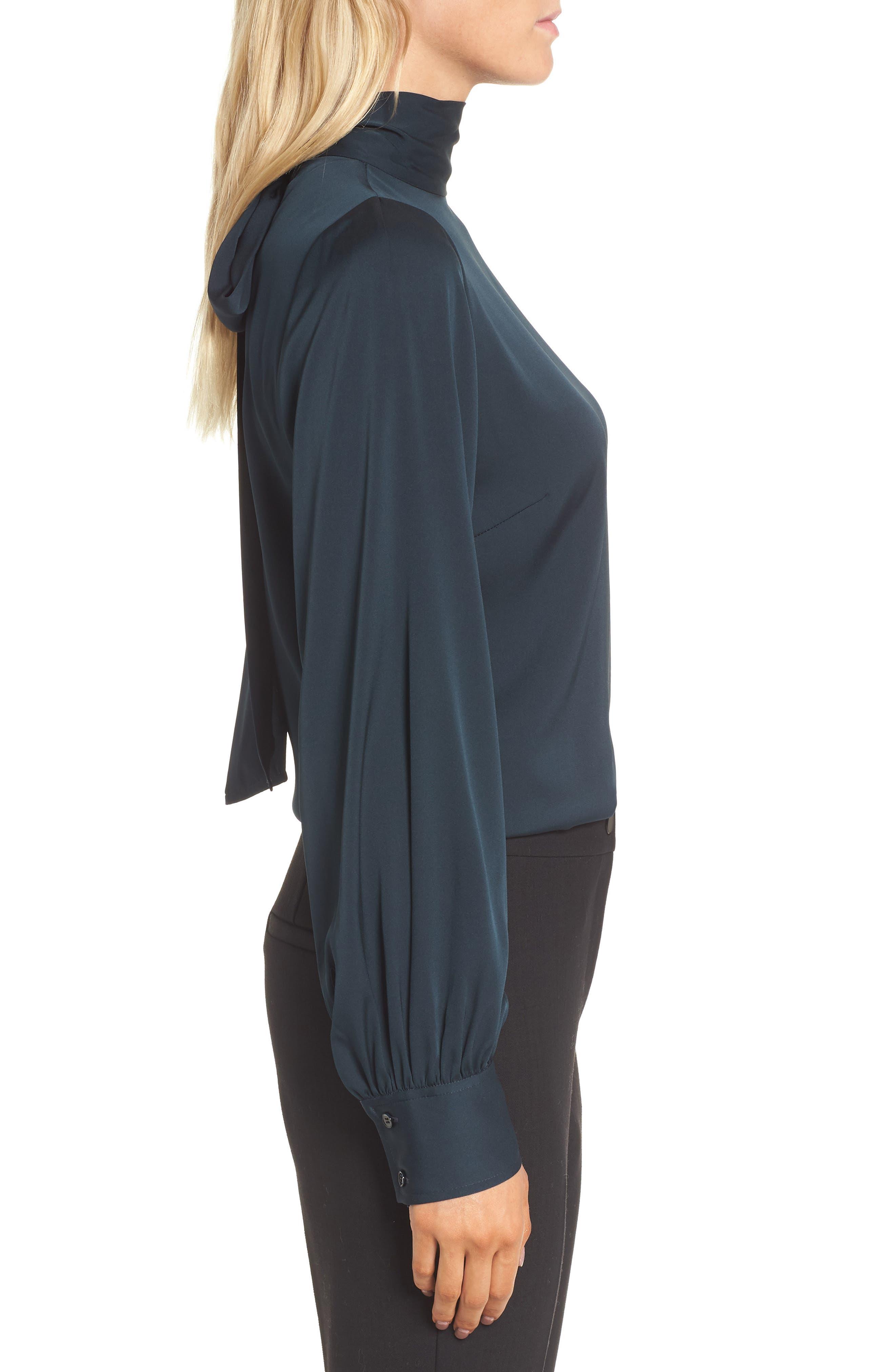 Tie Back Stretch Silk Blouse,                             Alternate thumbnail 3, color,                             301