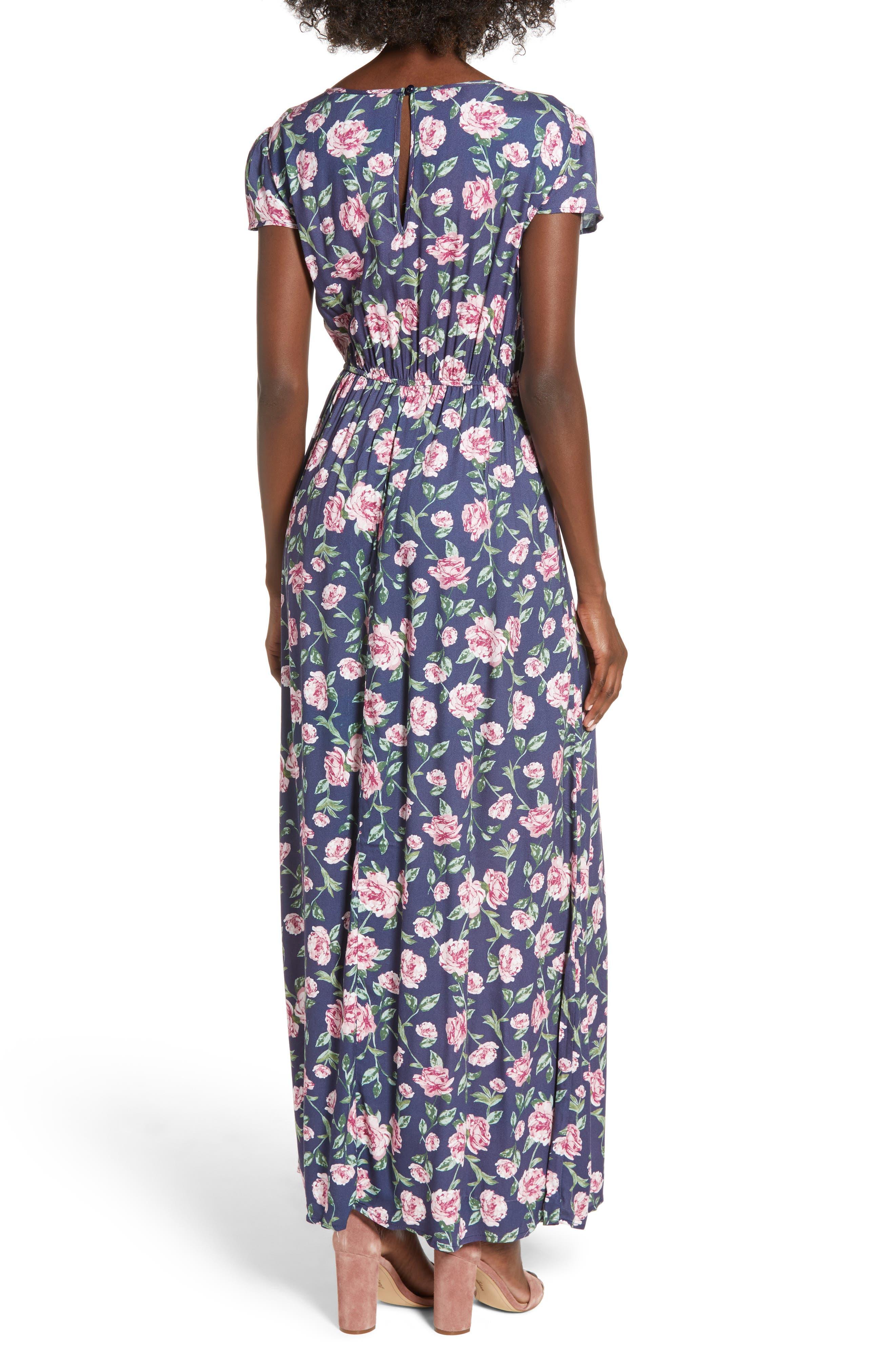 Floral Maxi Dress,                             Alternate thumbnail 2, color,                             NAVY FLORAL