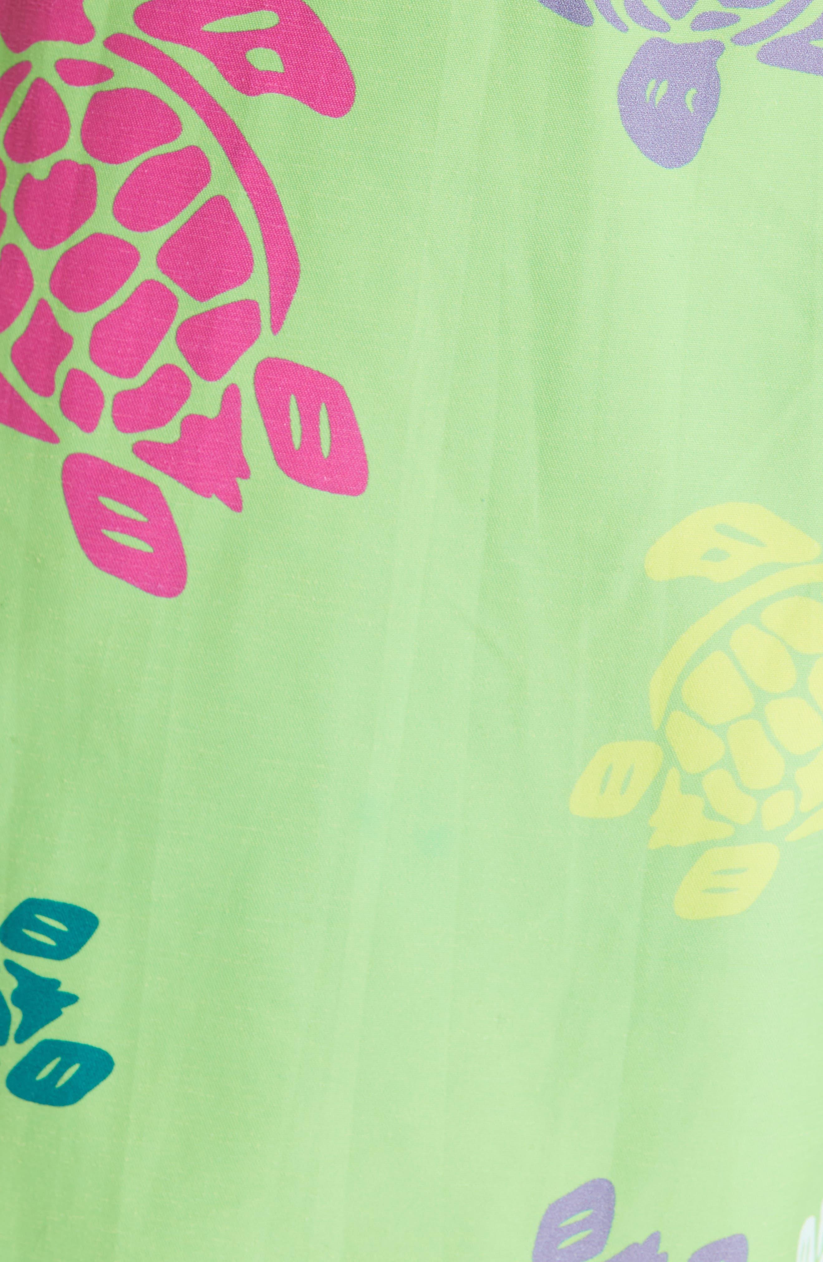 Turtle Print Swim Trunks,                             Alternate thumbnail 5, color,                             GREEN