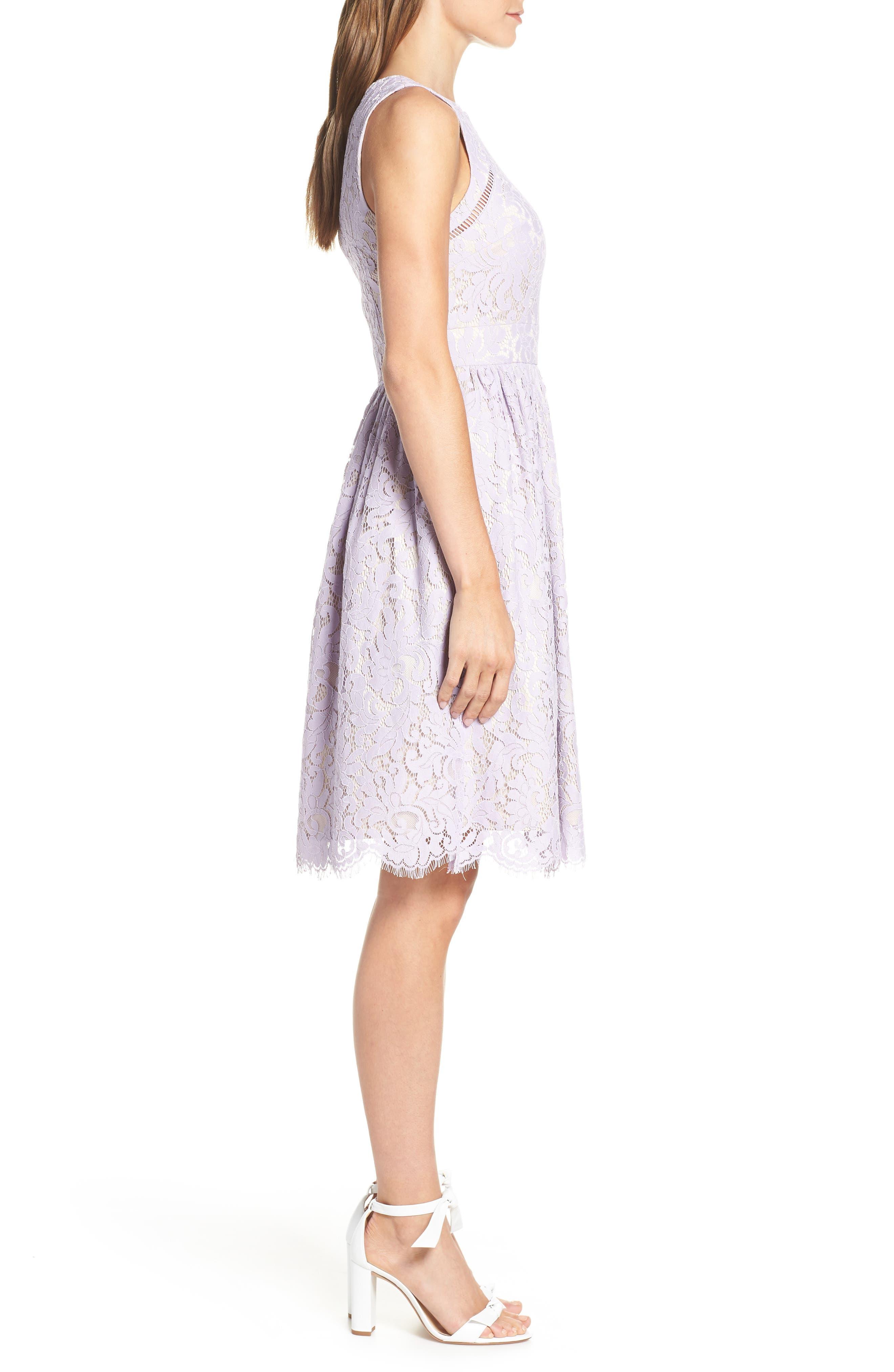 ELIZA J,                             Lace Fit & Flare Dress,                             Alternate thumbnail 3, color,                             LAVENDER