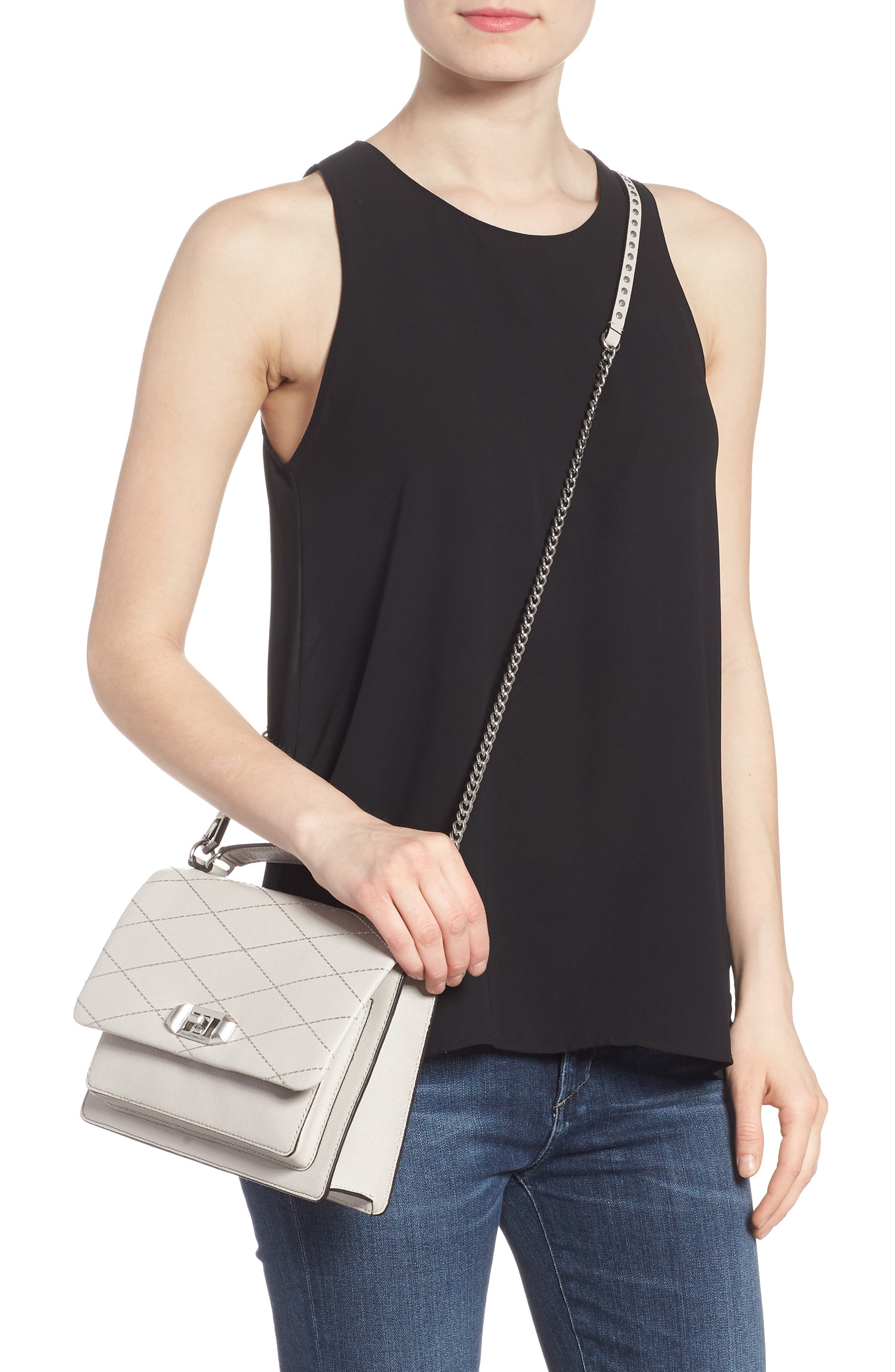 Medium Je T'aime Convertible Leather Crossbody Bag,                             Alternate thumbnail 12, color,