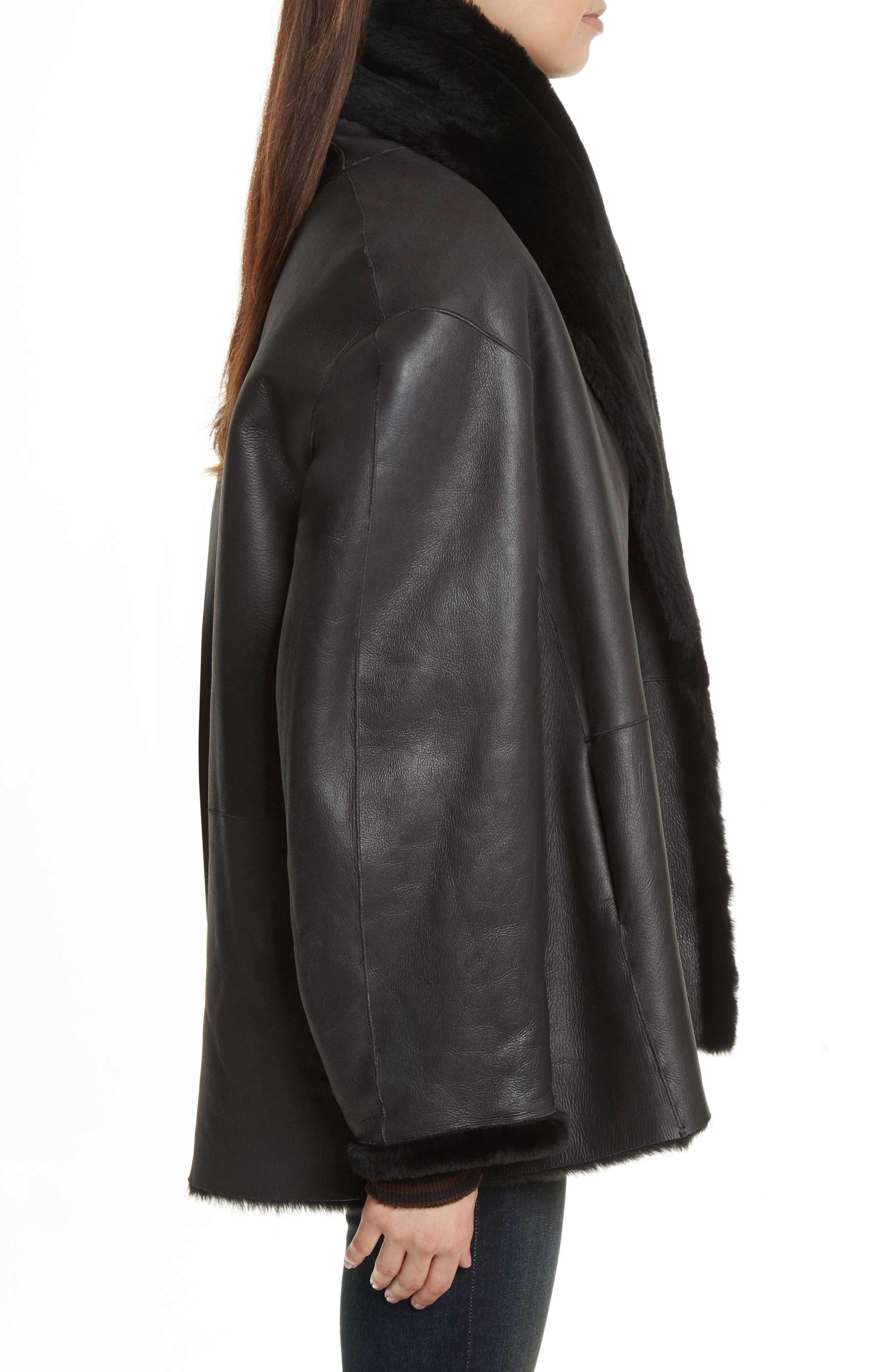 Shawl Collar Genuine Shearling Reversible Coat,                             Alternate thumbnail 3, color,                             012