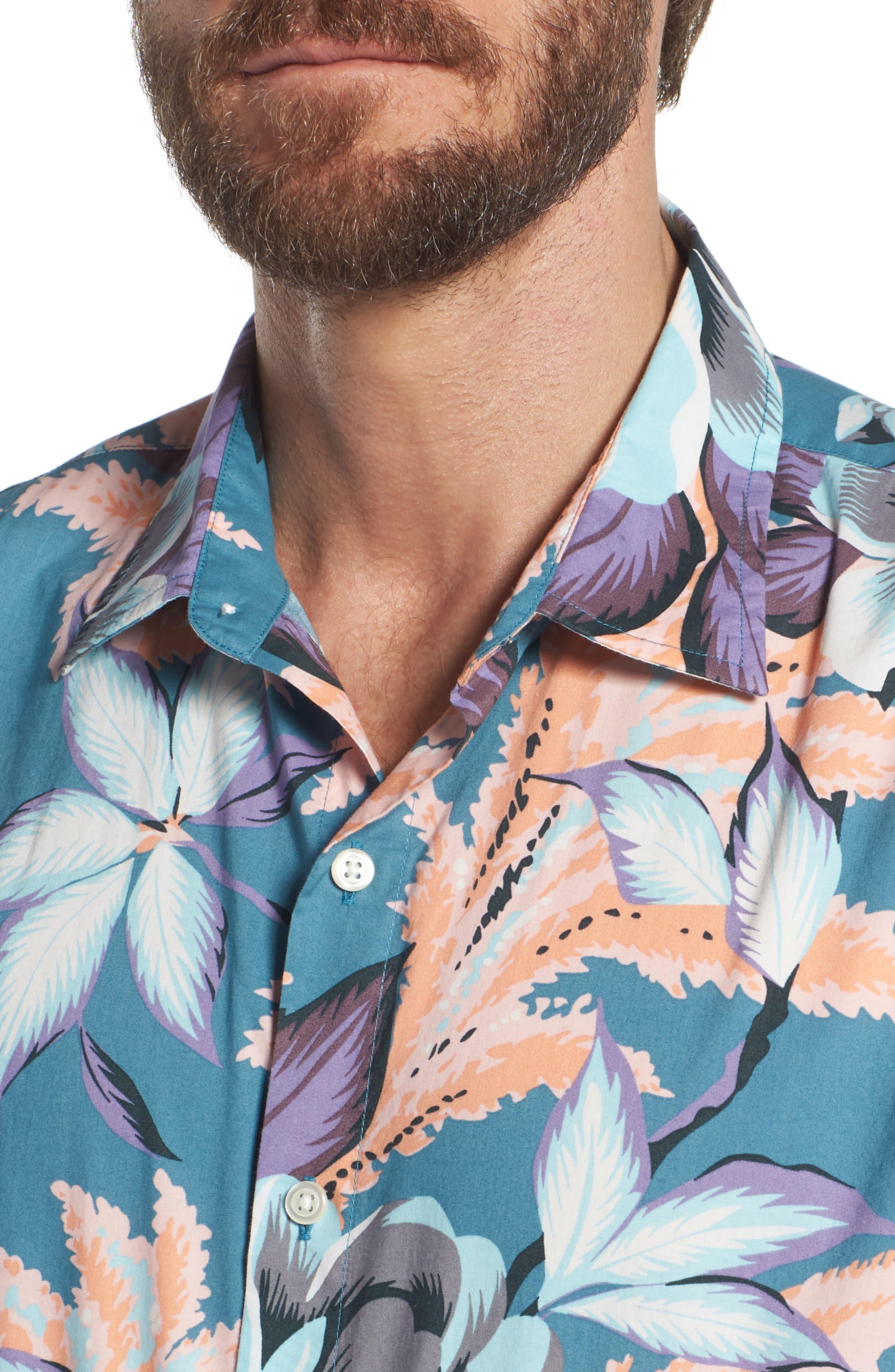 Riviera Slim Fit Floral Print Sport Shirt,                             Alternate thumbnail 4, color,                             400