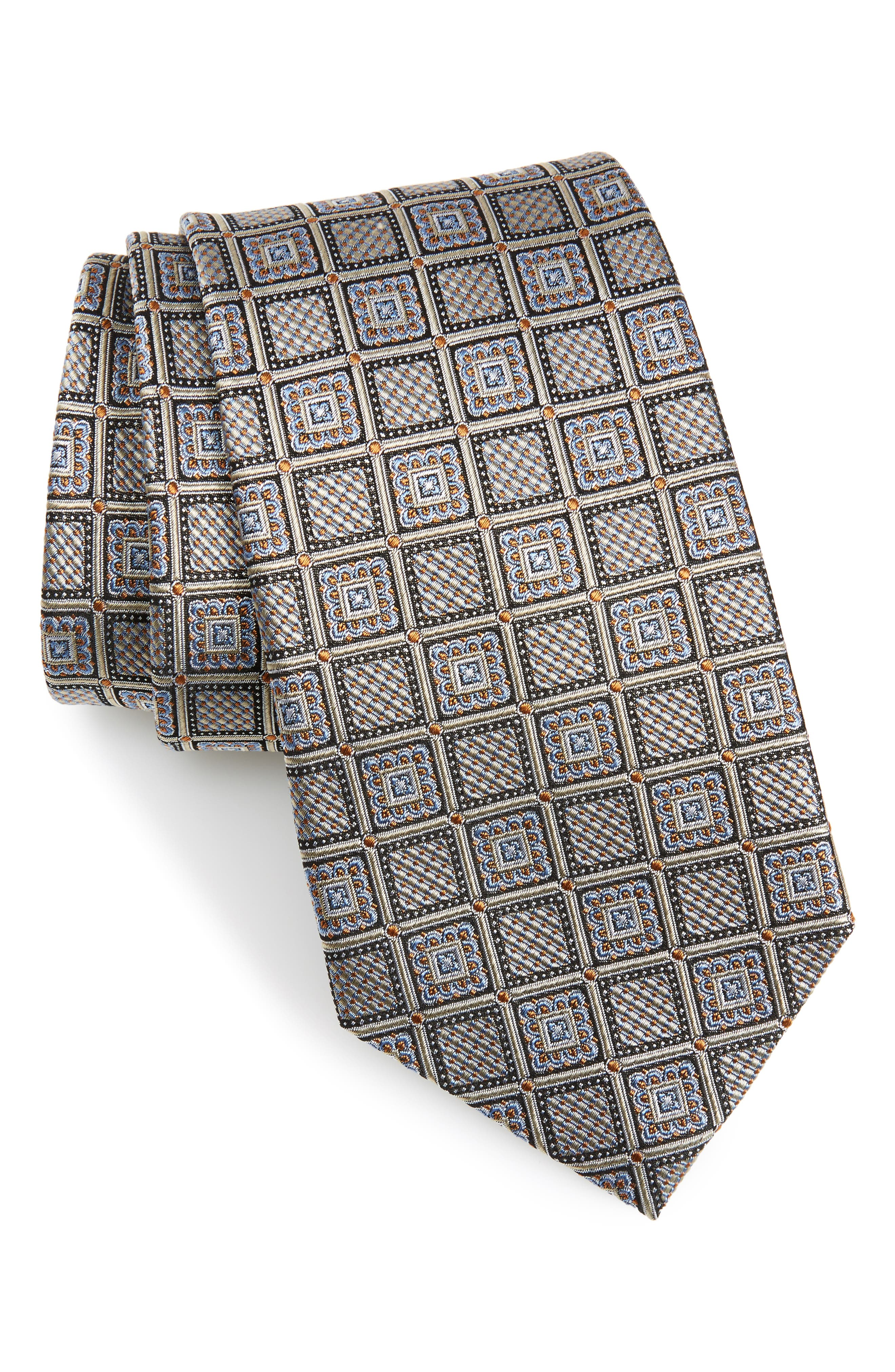 Geometric Silk Tie,                         Main,                         color, 250