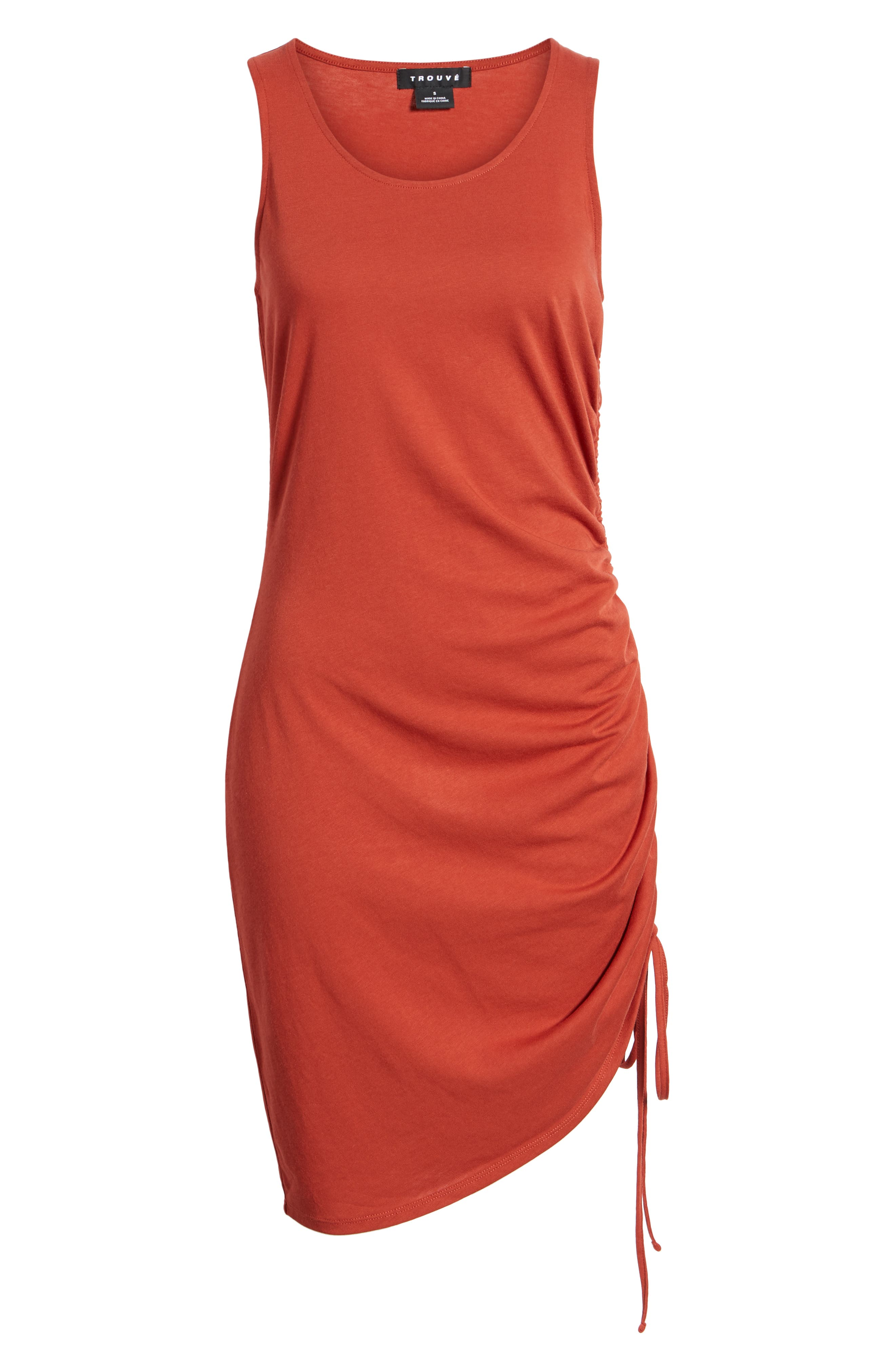 Side Shirred Body-Con Dress,                             Alternate thumbnail 7, color,                             RED OCHRE