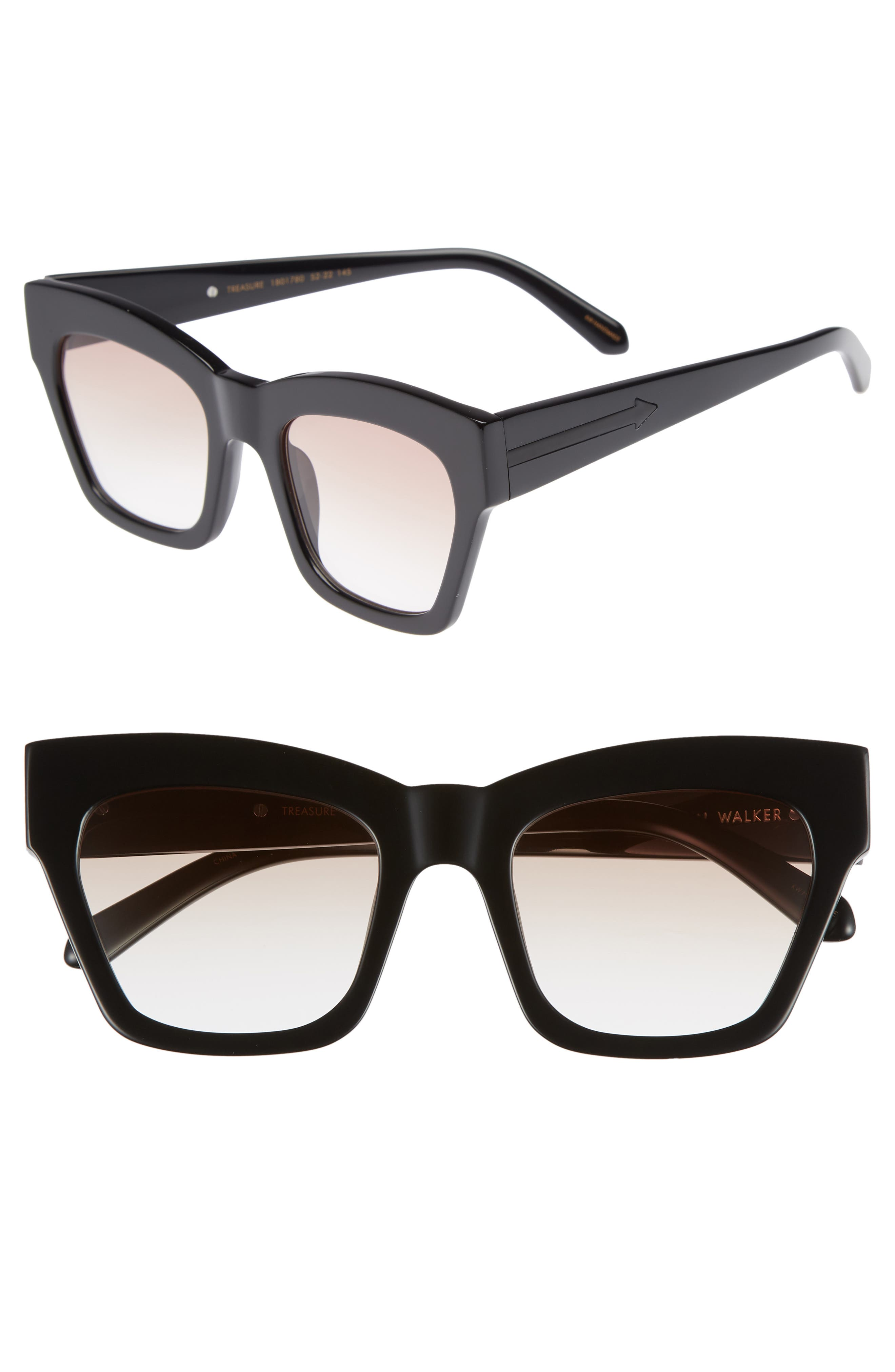 Treasure 52mm Cat Eye Sunglasses,                             Main thumbnail 1, color,                             SHINY BLACK/ BROWN
