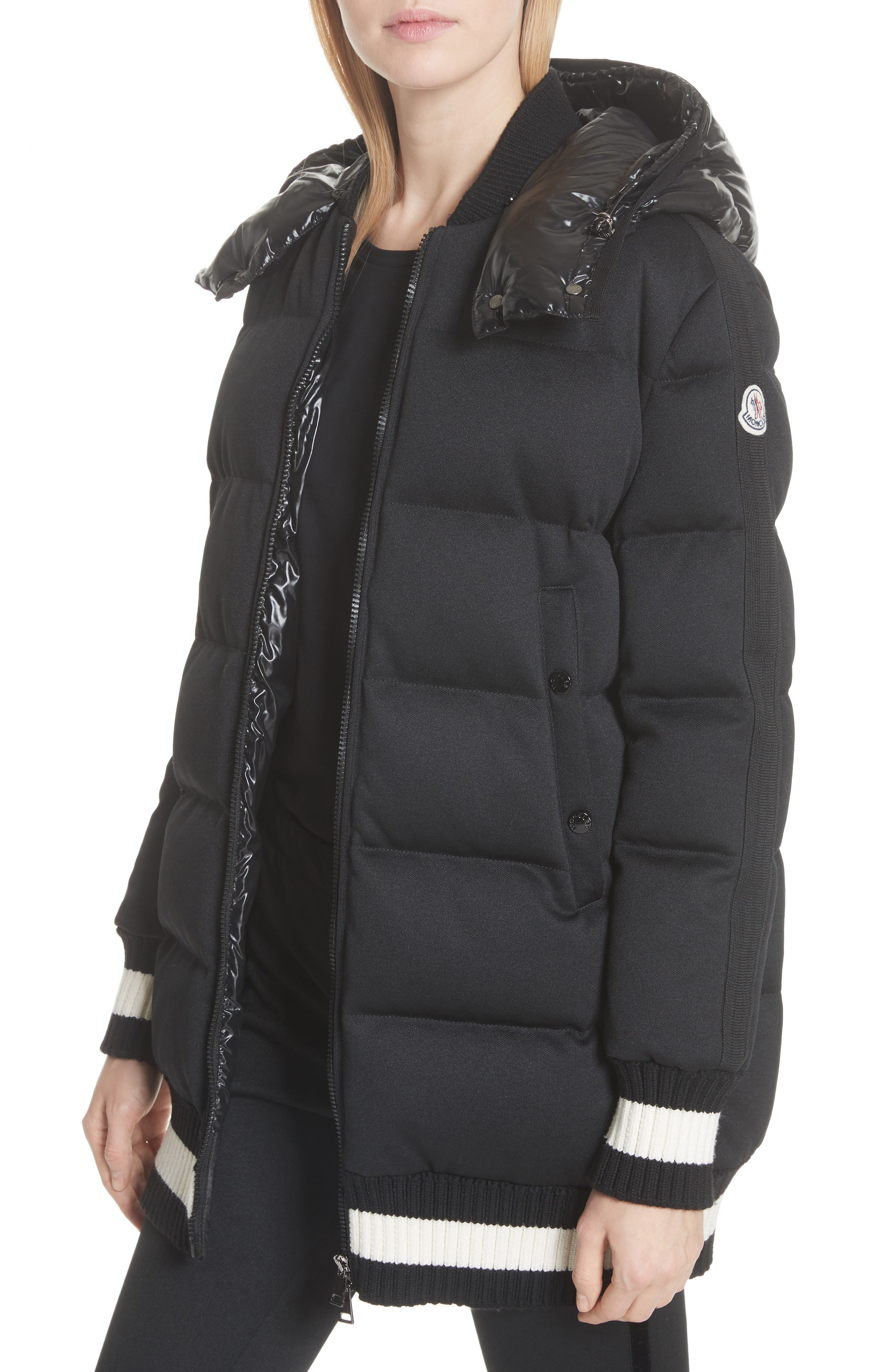 Harfang Quilted Down Bomber Coat,                             Alternate thumbnail 5, color,                             BLACK