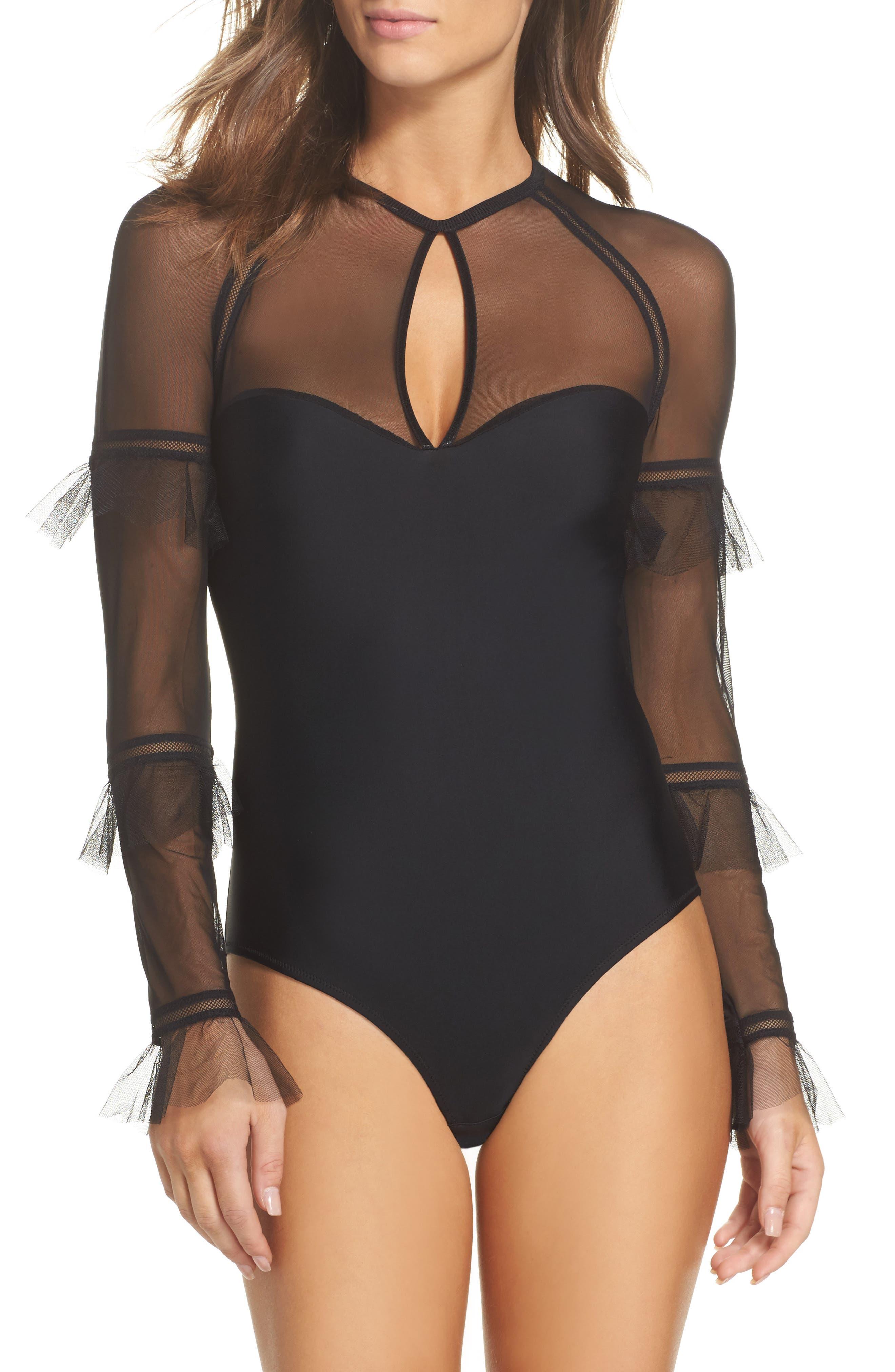 Lorimer Long Sleeve Bodysuit,                             Main thumbnail 1, color,                             BLACK