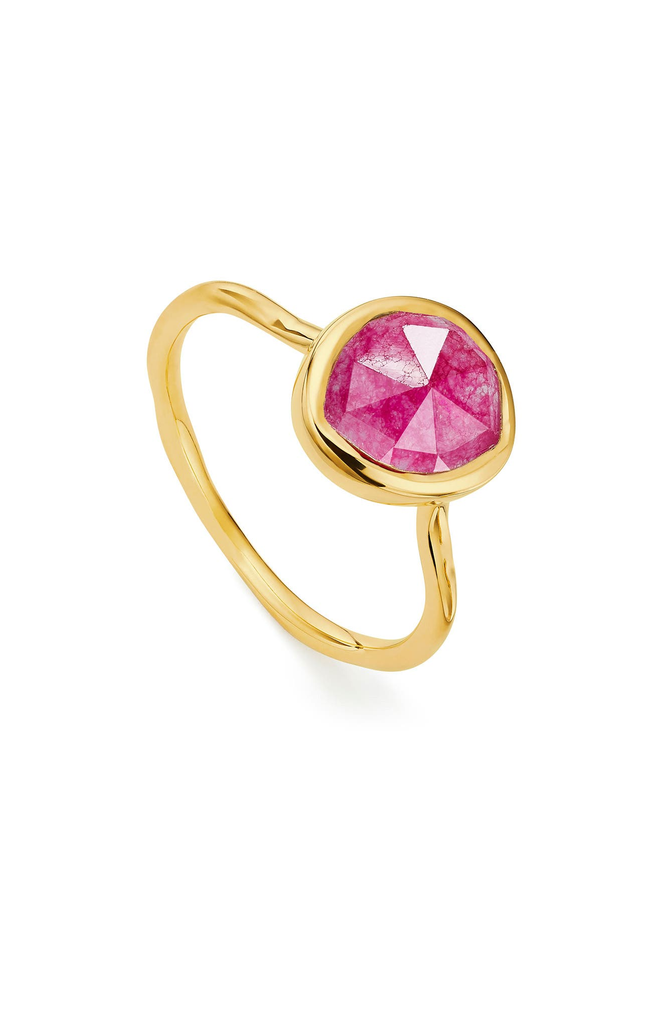 Siren Semiprecious Stone Stacking Ring,                         Main,                         color, GOLD/ PINK QUARTZ