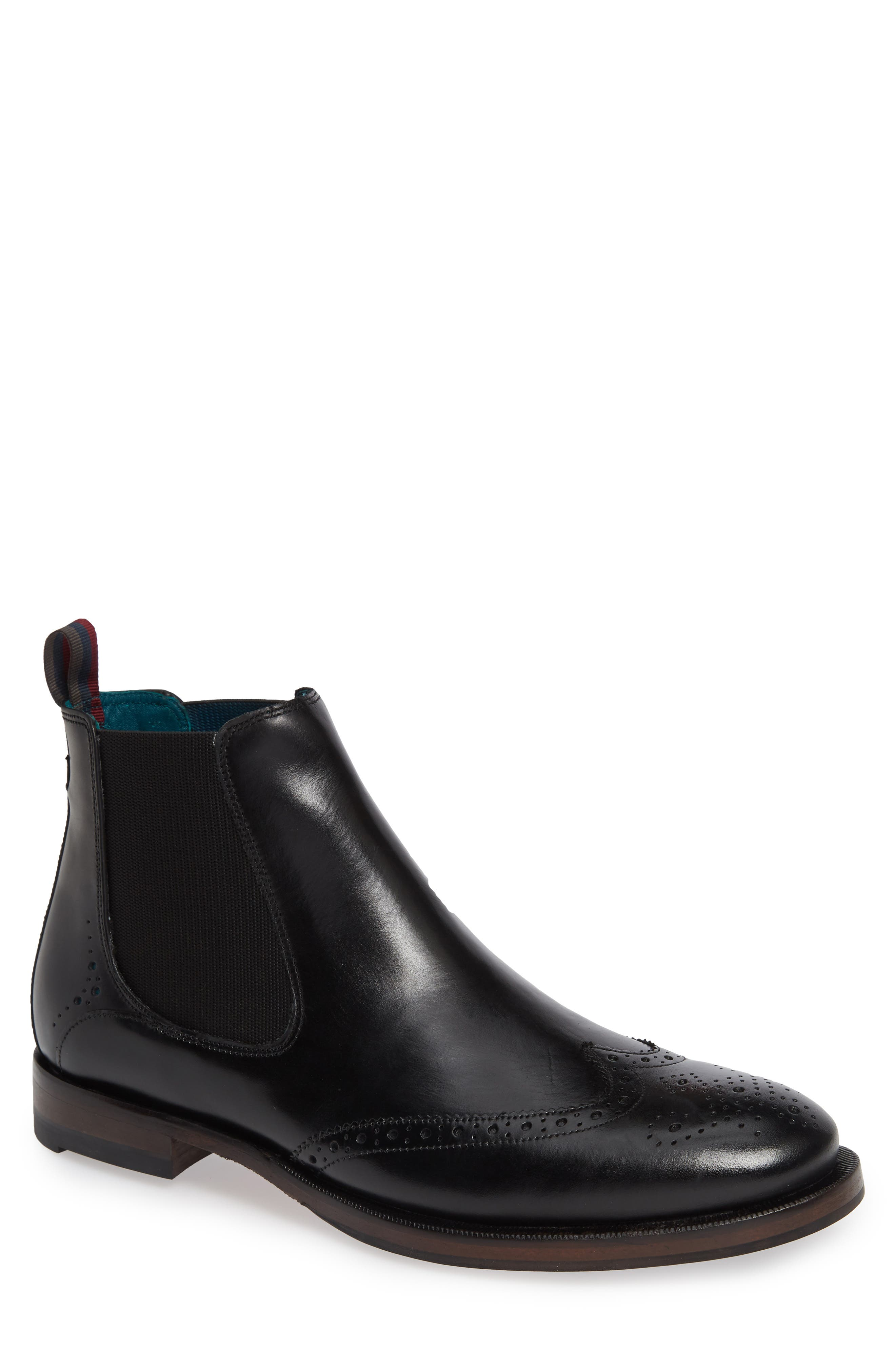 Camheri Wingtip Chelsea Boot,                         Main,                         color, BLACK LEATHER