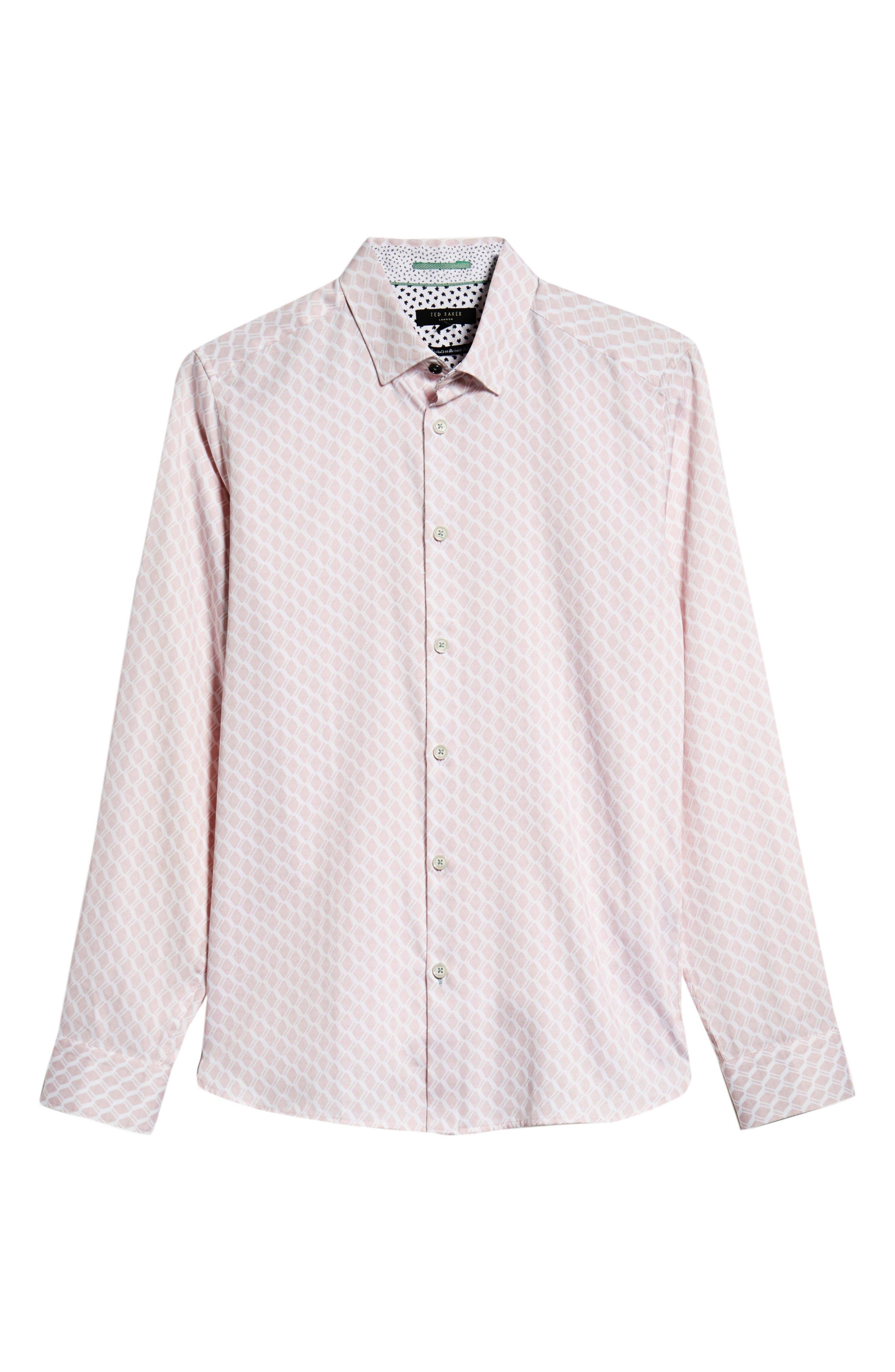 Pimlitt Geometric Pattern Sport Shirt,                             Alternate thumbnail 5, color,                             PINK