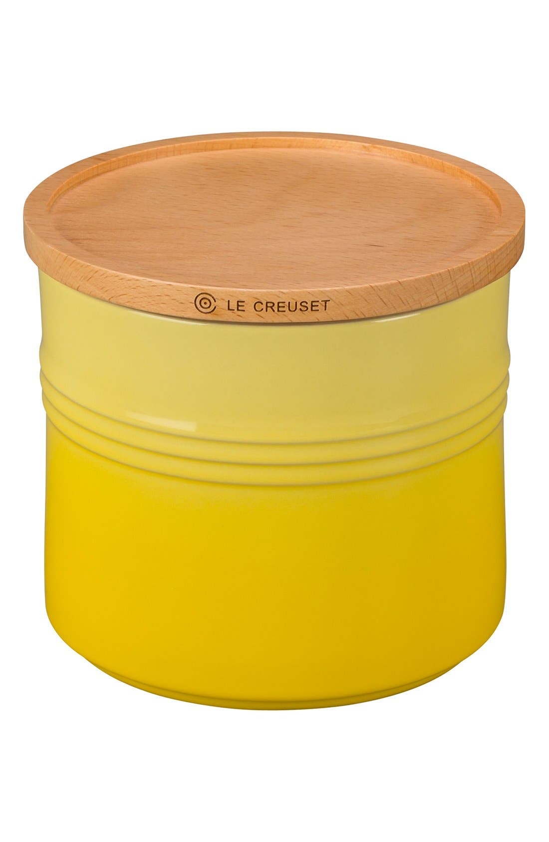 Glazed Stoneware 1 1/2 Quart Storage Canister with Wooden Lid,                         Main,                         color, SOLEIL