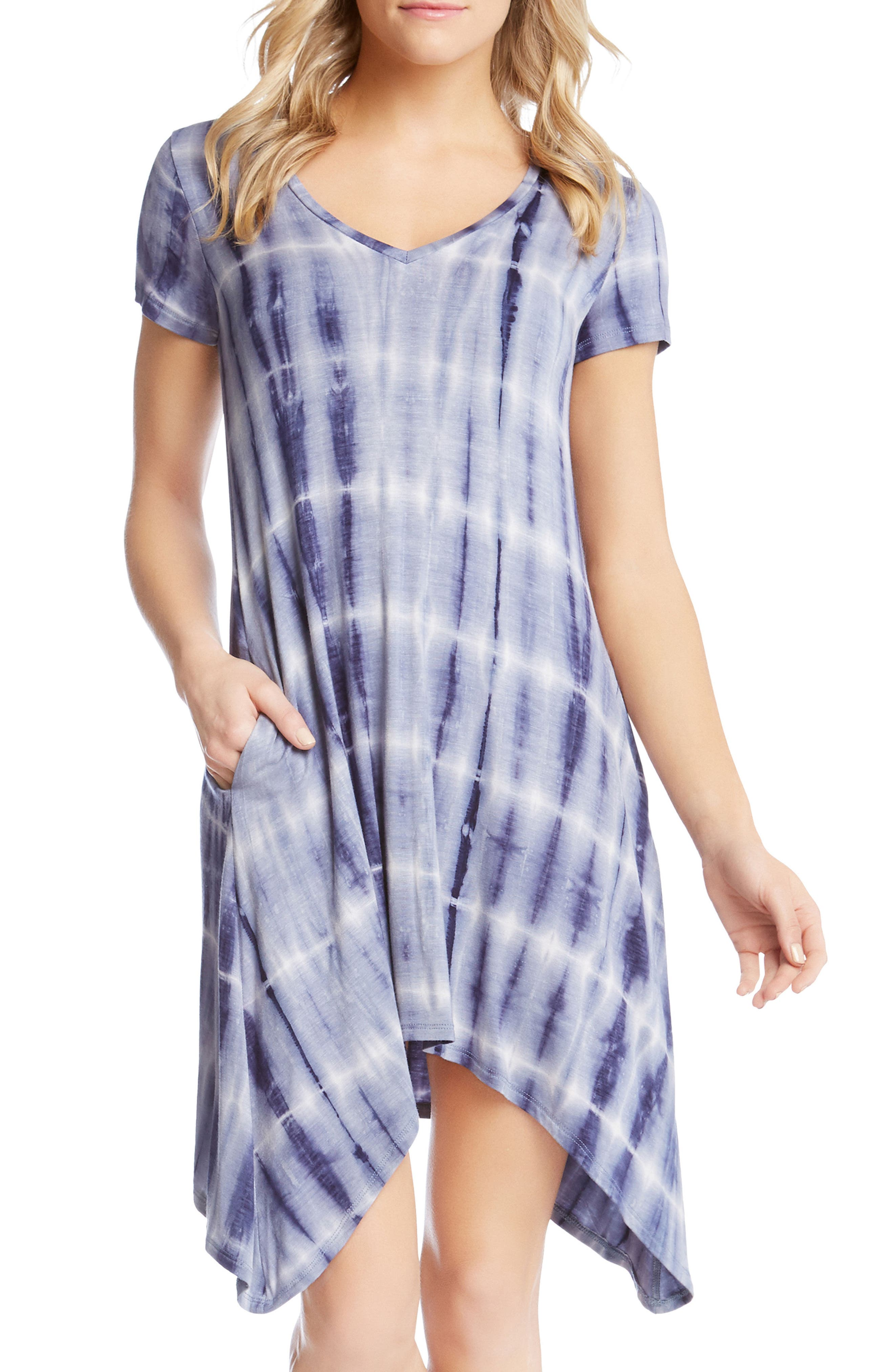 Tie Dye Sharkbite Hem Dress,                             Alternate thumbnail 3, color,                             437