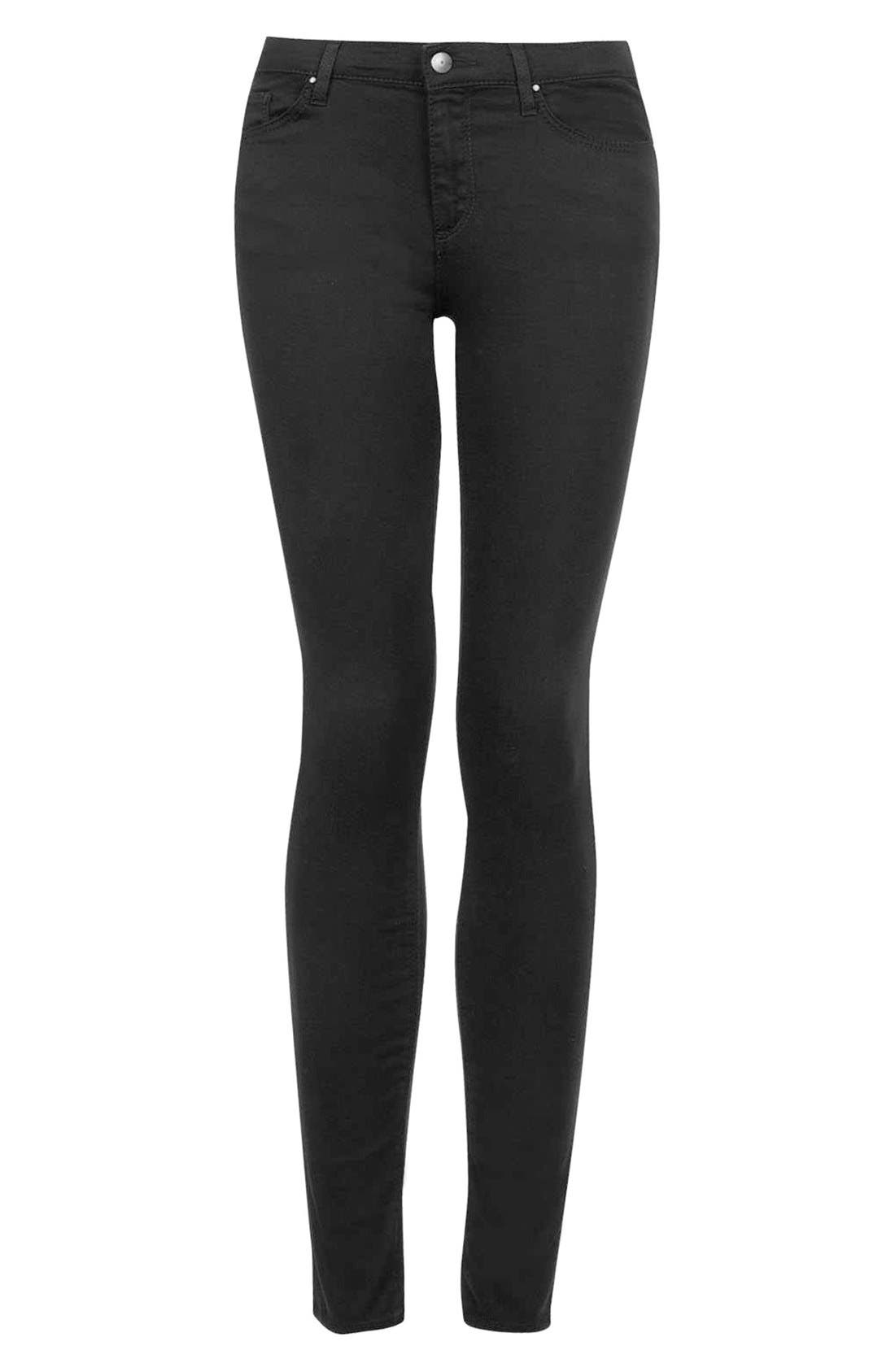 Moto 'Leigh' Mid Rise Skinny Jeans,                             Alternate thumbnail 5, color,                             001
