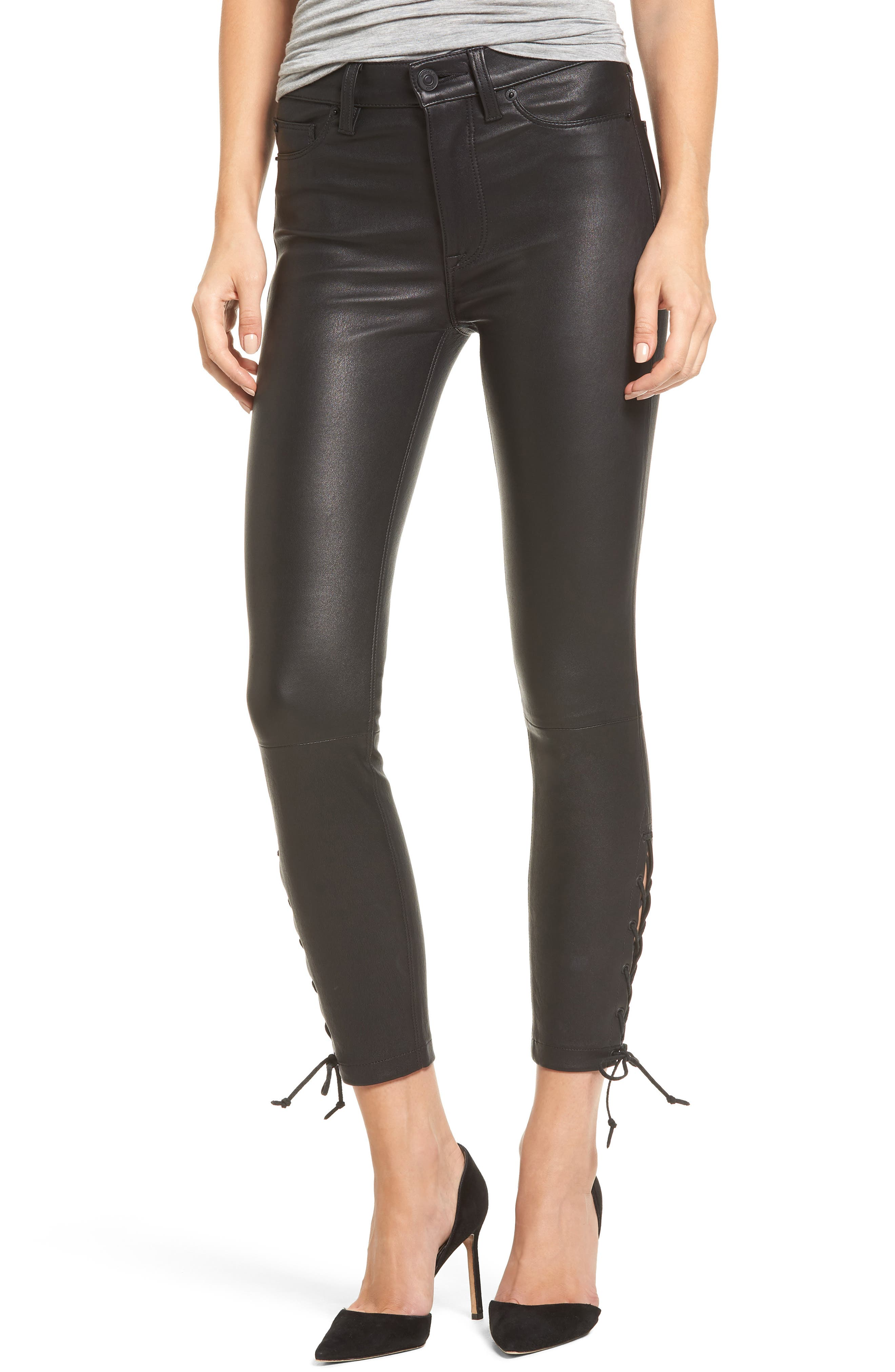Nix High Waist Leather Skinny Pants,                         Main,                         color, 001