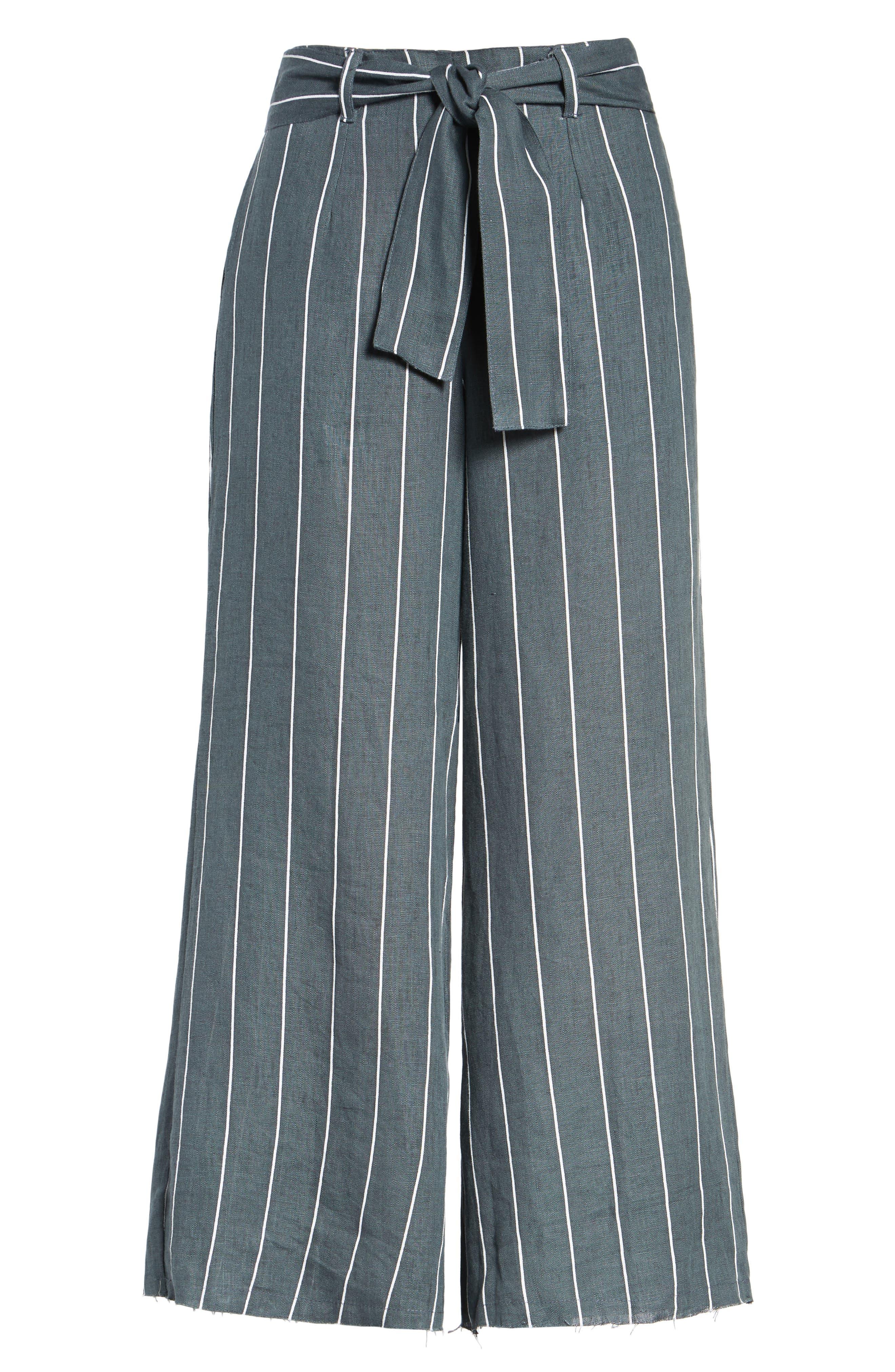 Como Pinstripe Wide Leg Crop Linen Pants,                             Alternate thumbnail 6, color,                             CHARCOAL