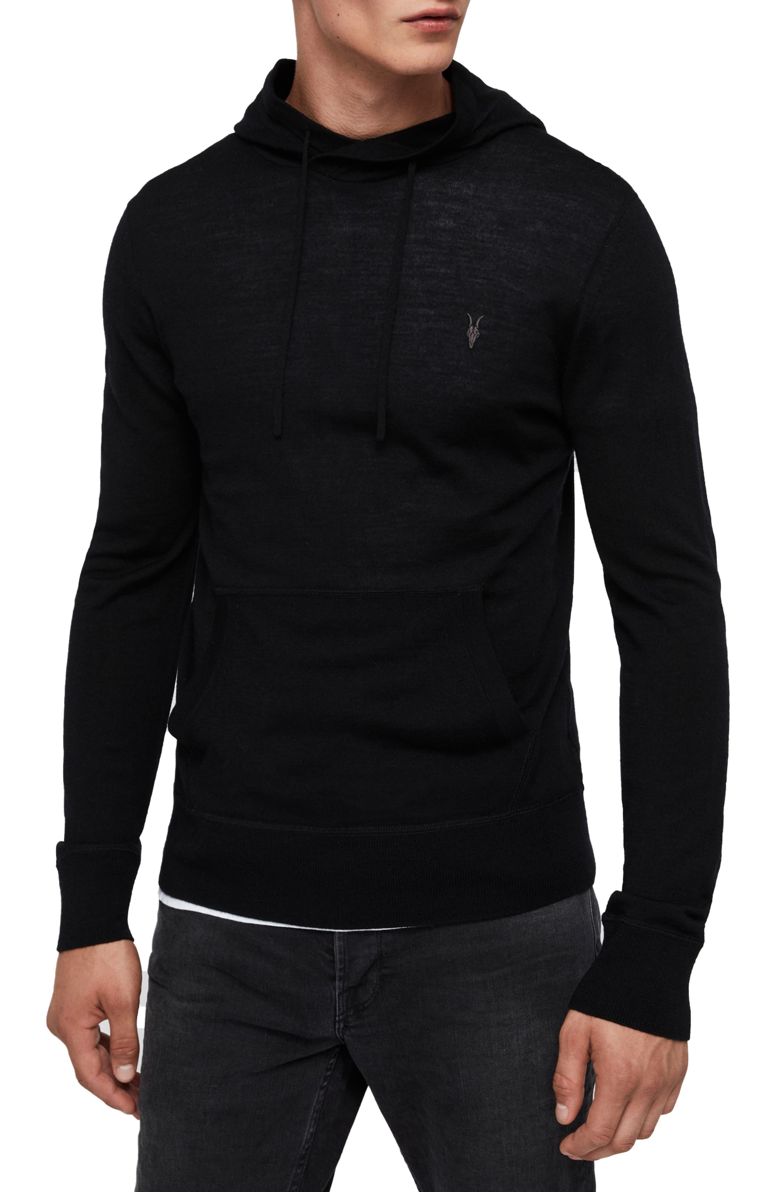Allsaints Mode Merino Wool Hoodie, Black