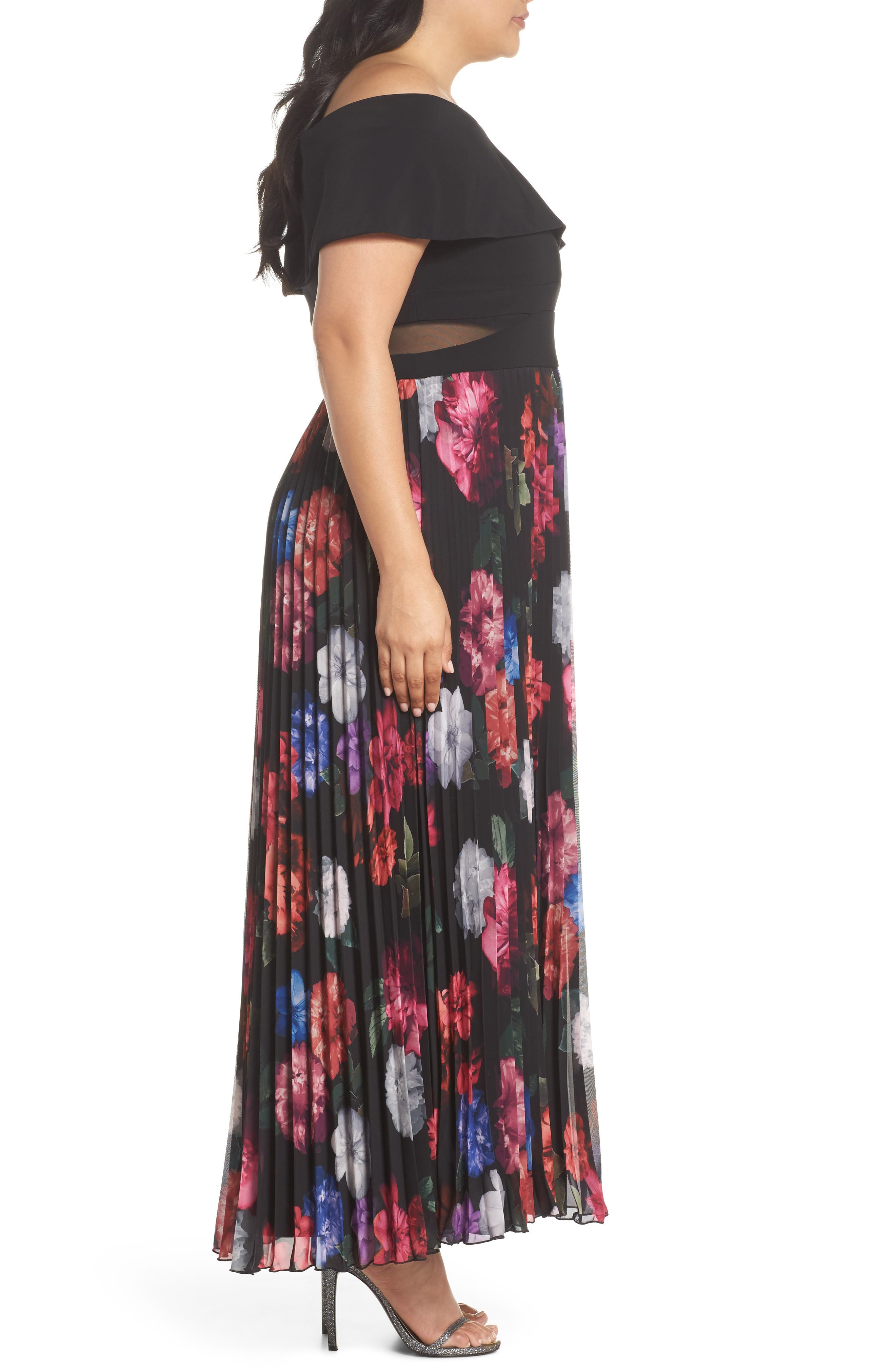 Pleated Floral Off the Shoulder Gown,                             Alternate thumbnail 3, color,                             001