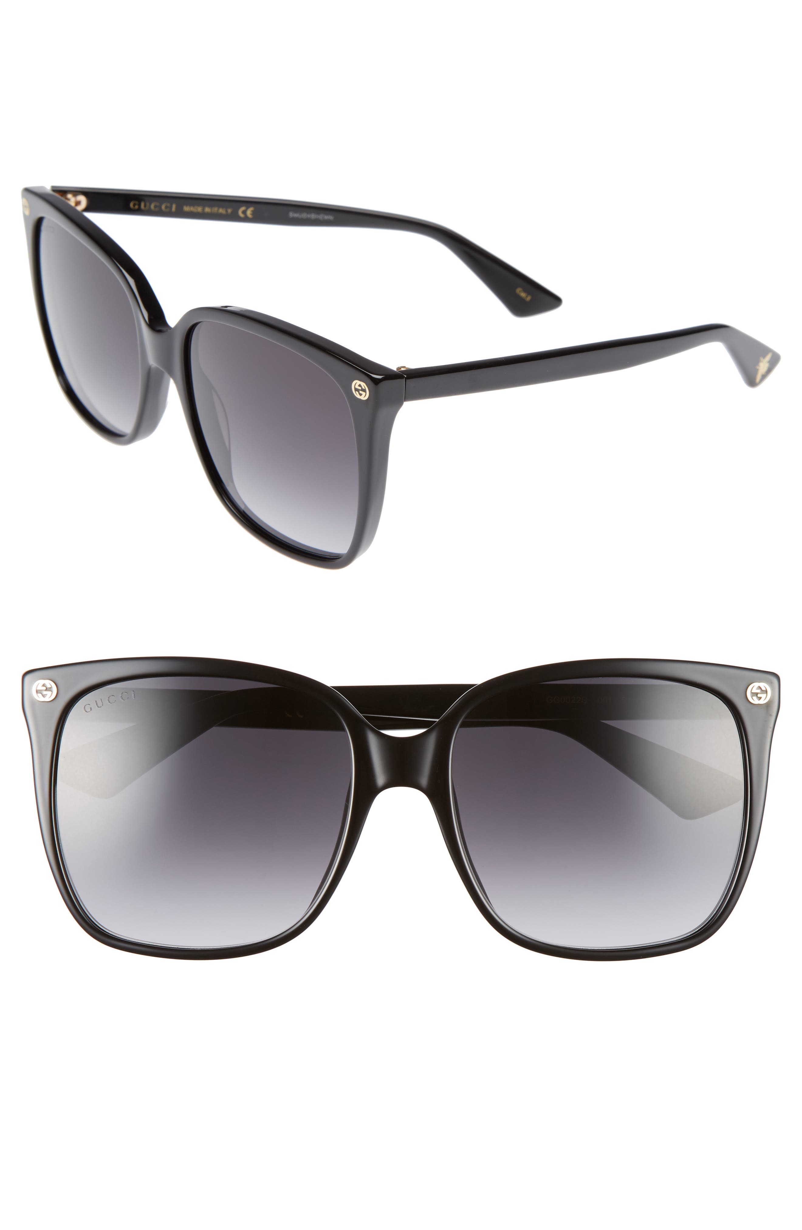 57mm Square Sunglasses, Main, color, BLACK/ GREY