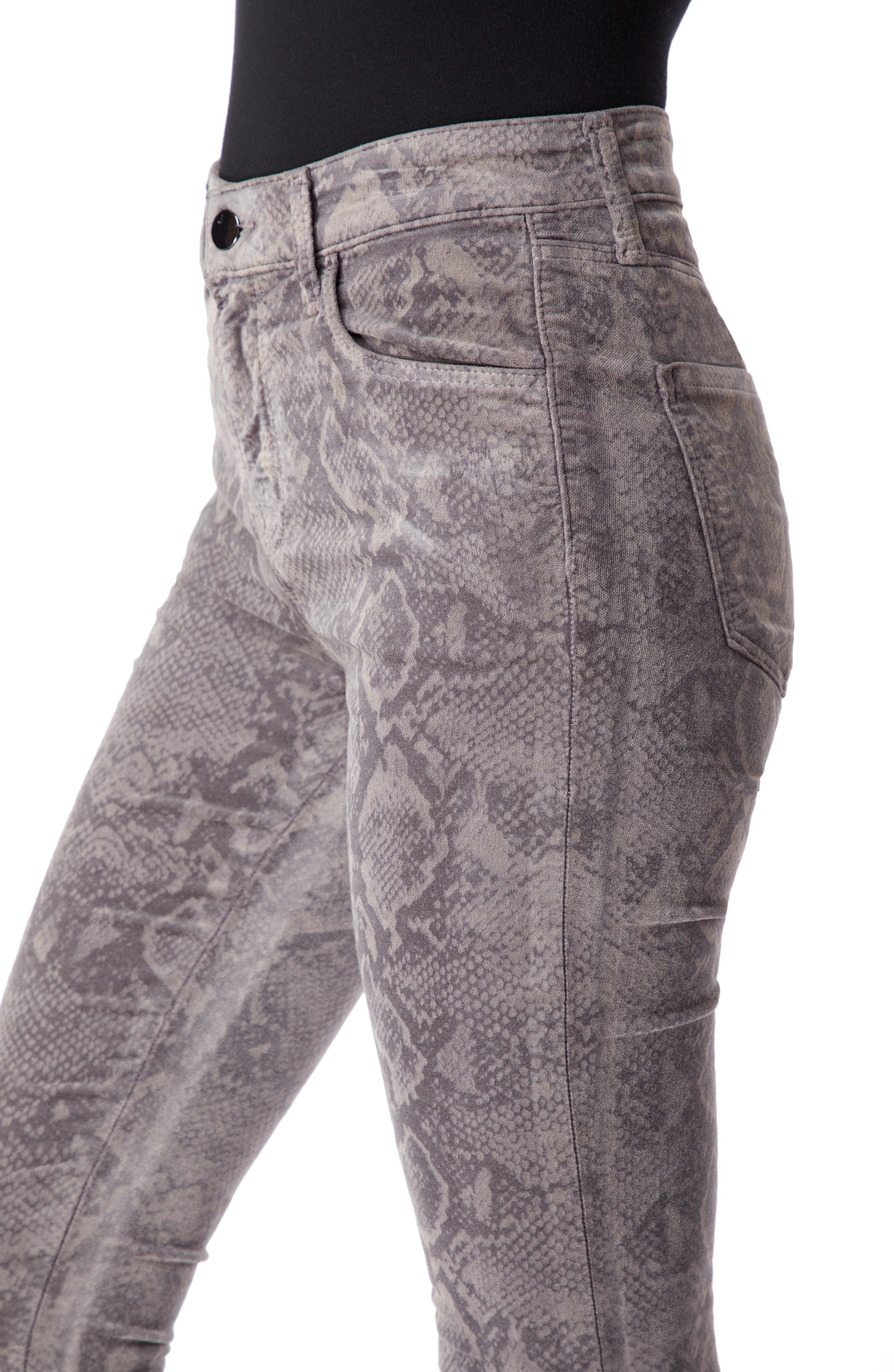 Maria High Waist Velvet Skinny Jeans,                             Alternate thumbnail 5, color,                             SNAKEBITE