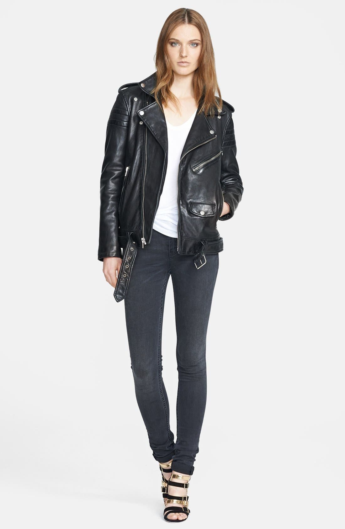 BLK DNM,                             Lambskin Leather Biker Jacket,                             Alternate thumbnail 2, color,                             001