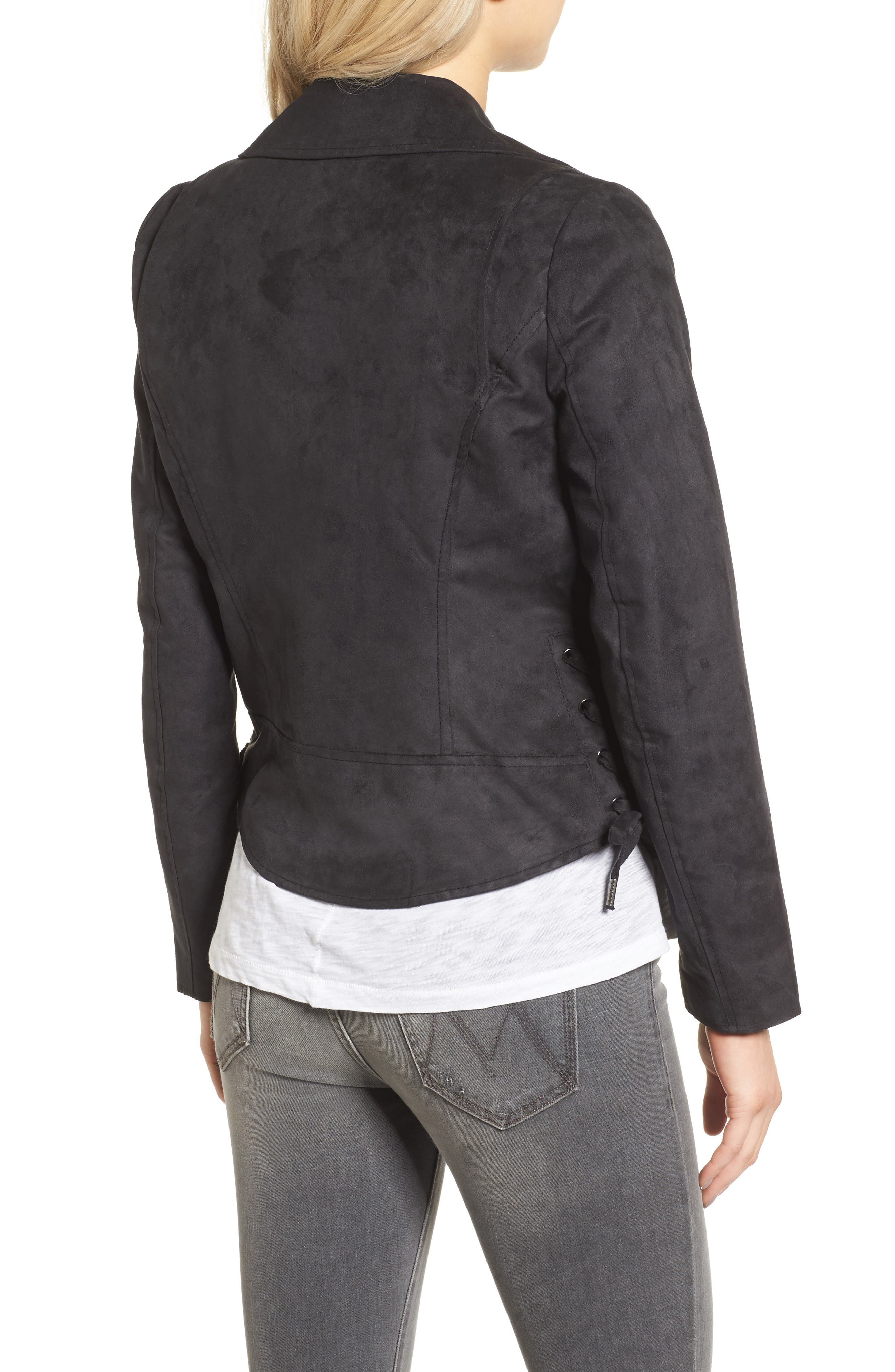 ANDREW MARC,                             Farryn Side Lace Faux Suede Jacket,                             Alternate thumbnail 2, color,                             001