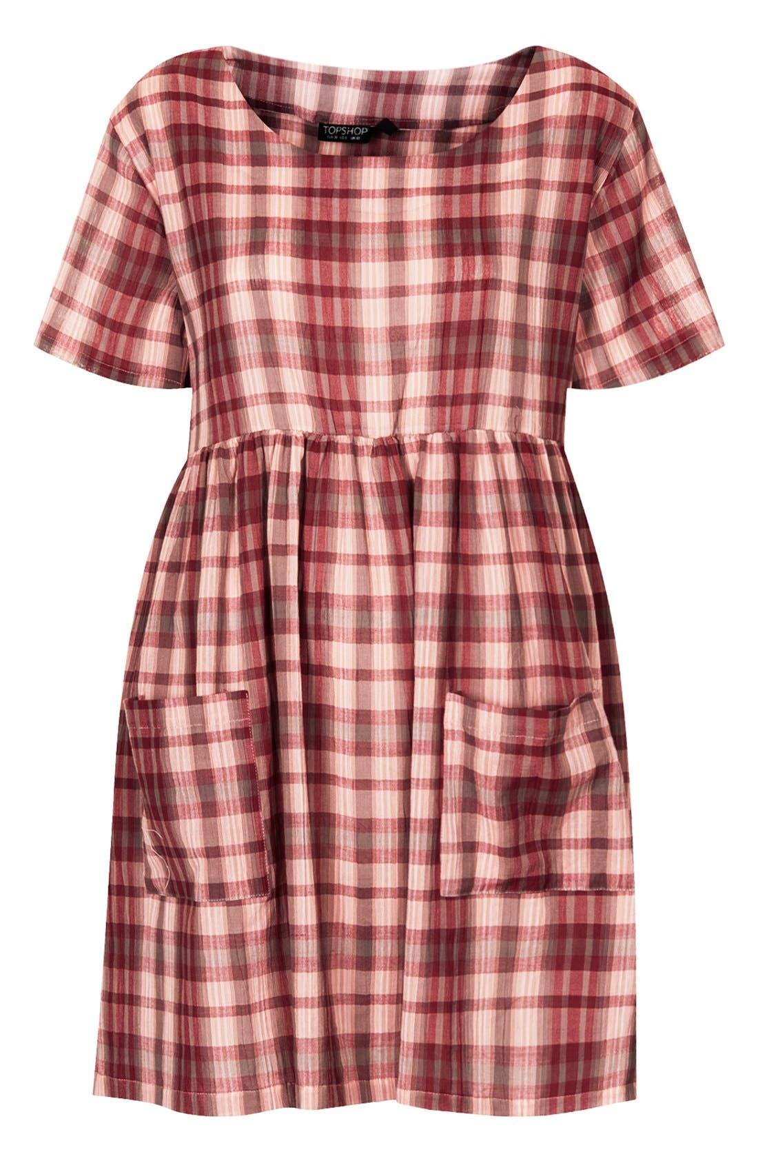 Plaid Cotton Smock Dress,                             Alternate thumbnail 5, color,                             600
