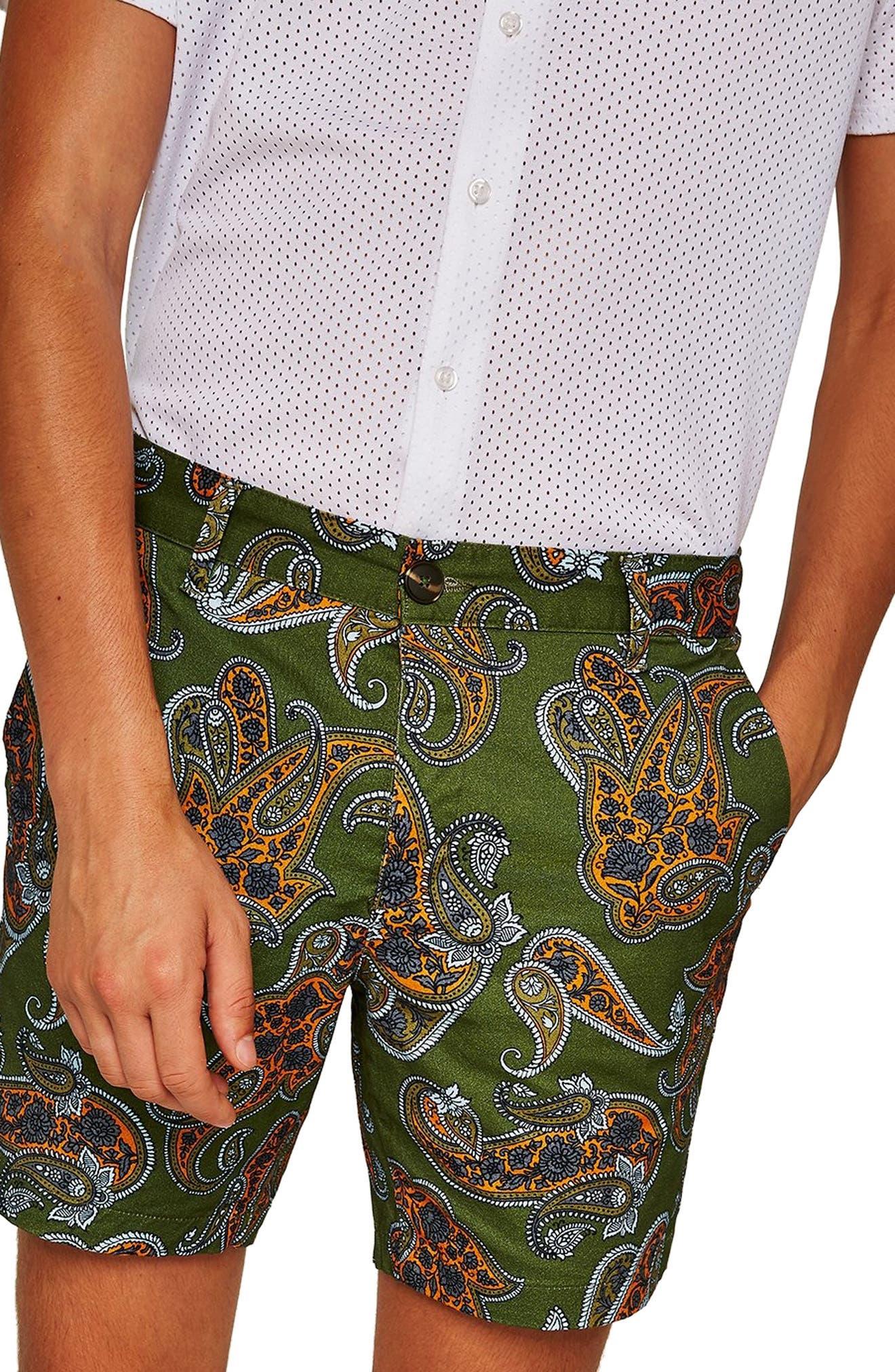 Slim Fir Paisley Print Shorts,                             Alternate thumbnail 3, color,                             DARK BLUE