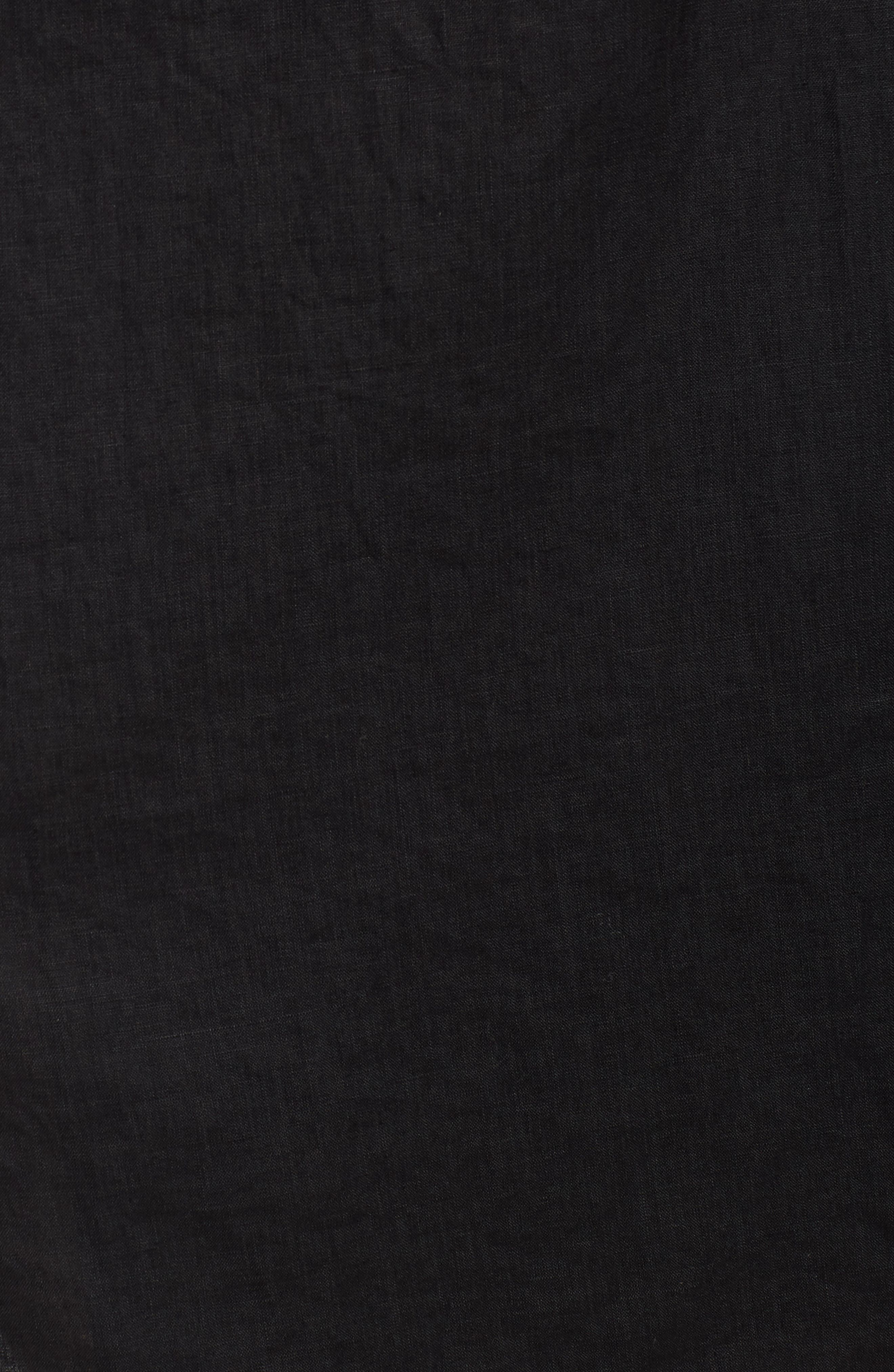Faux Wrap Organic Linen Skirt,                             Alternate thumbnail 5, color,                             001