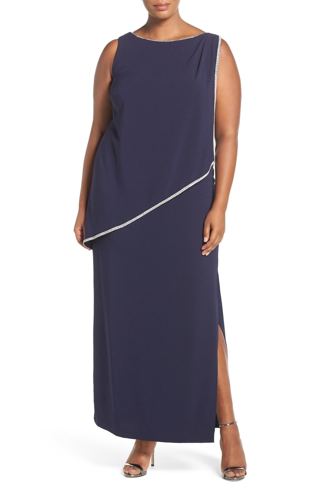 Embellished Overlay Sleeveless Crepe Column Gown,                             Main thumbnail 1, color,
