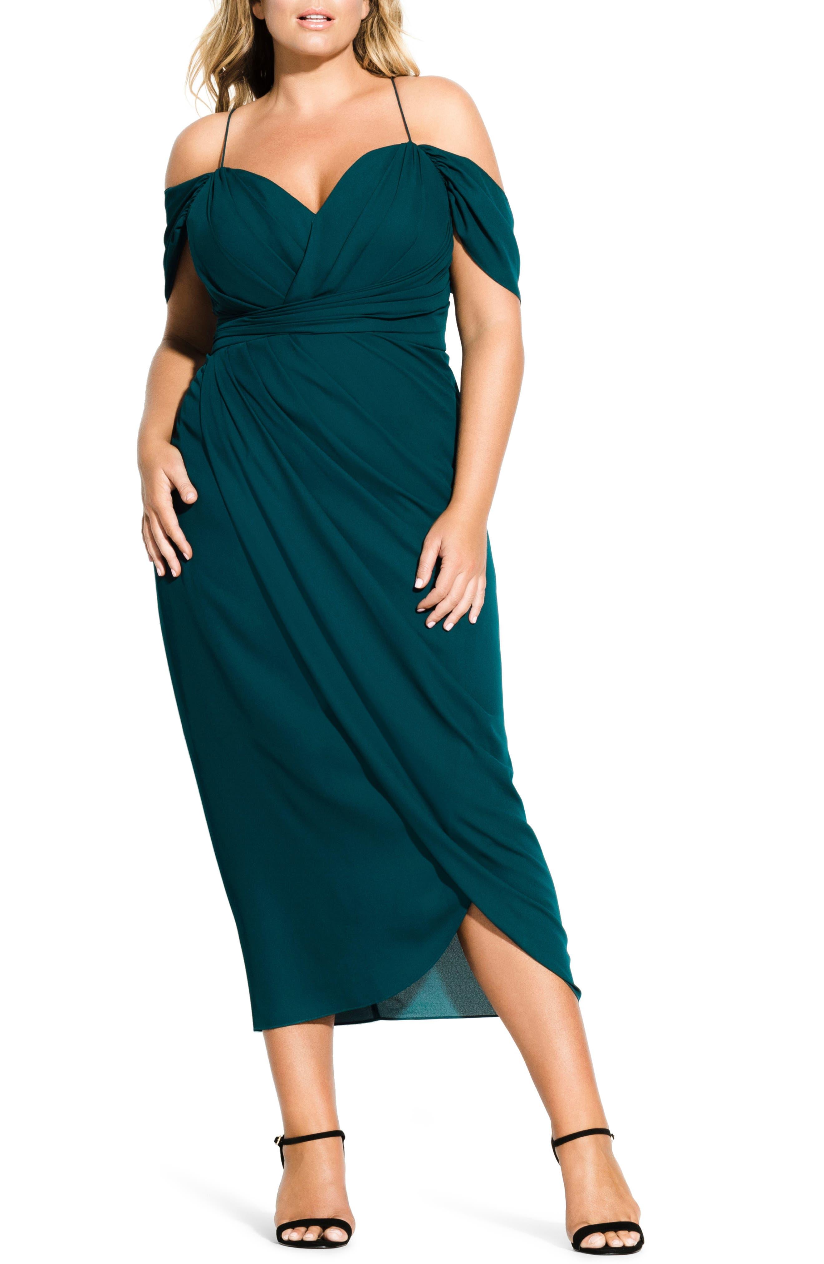 Plus Size City Chic Entwine Cold Shoulder Maxi Dress, Green
