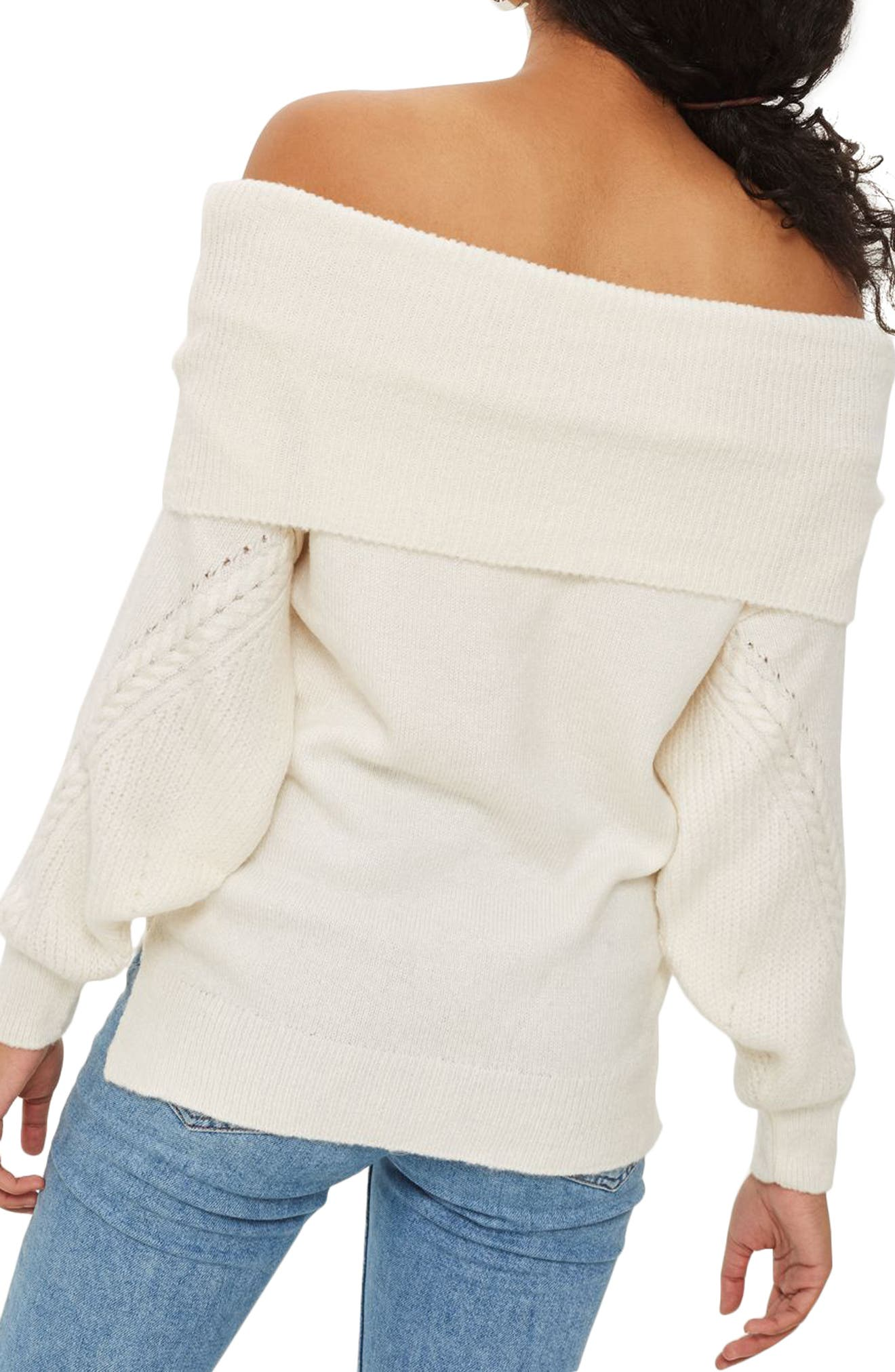 Balloon Sleeve Off the Shoulder Sweater,                             Alternate thumbnail 2, color,                             251