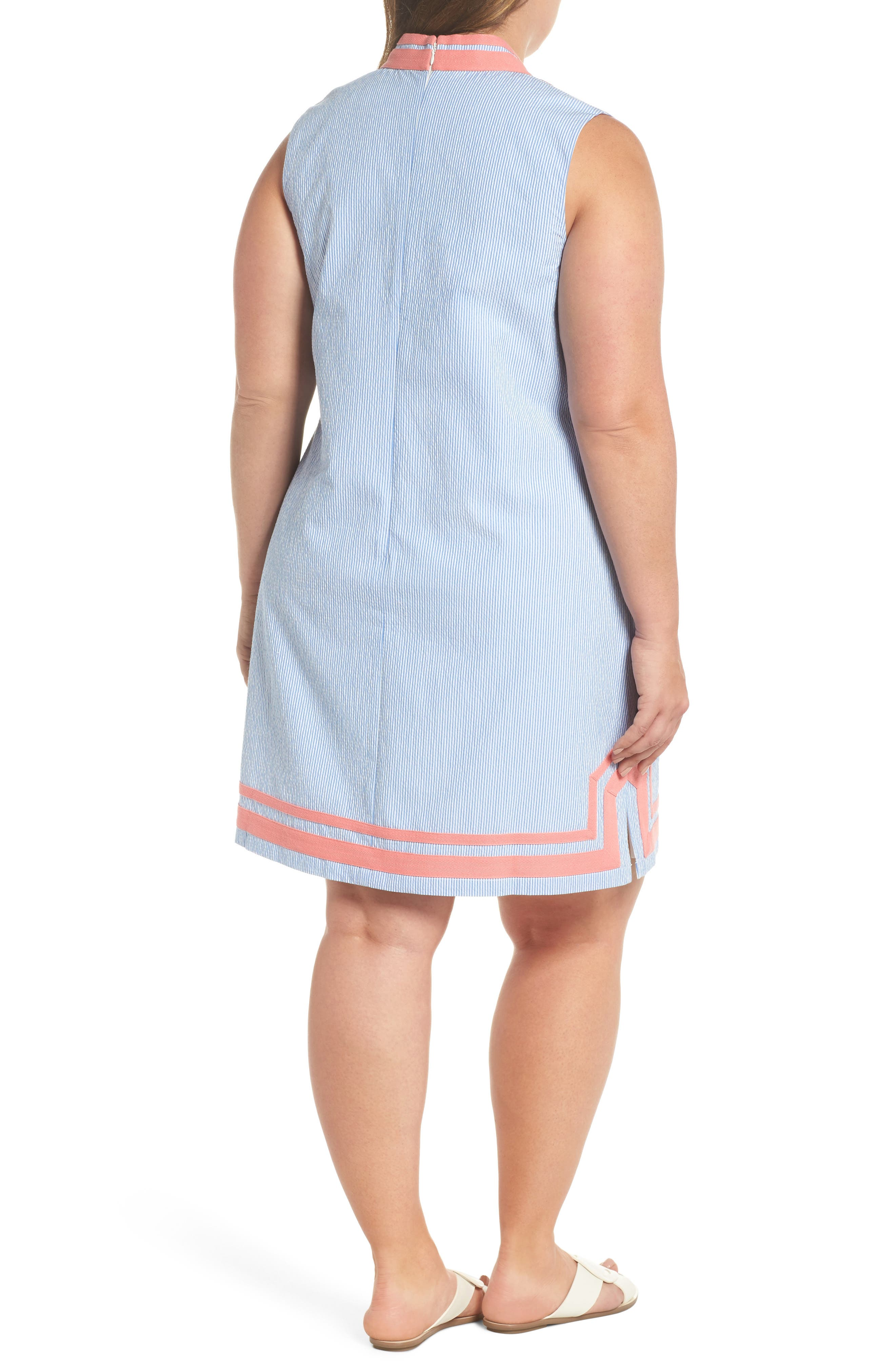 Mandarin Collar Contrast Trim Seersucker Shift Dress,                             Alternate thumbnail 2, color,