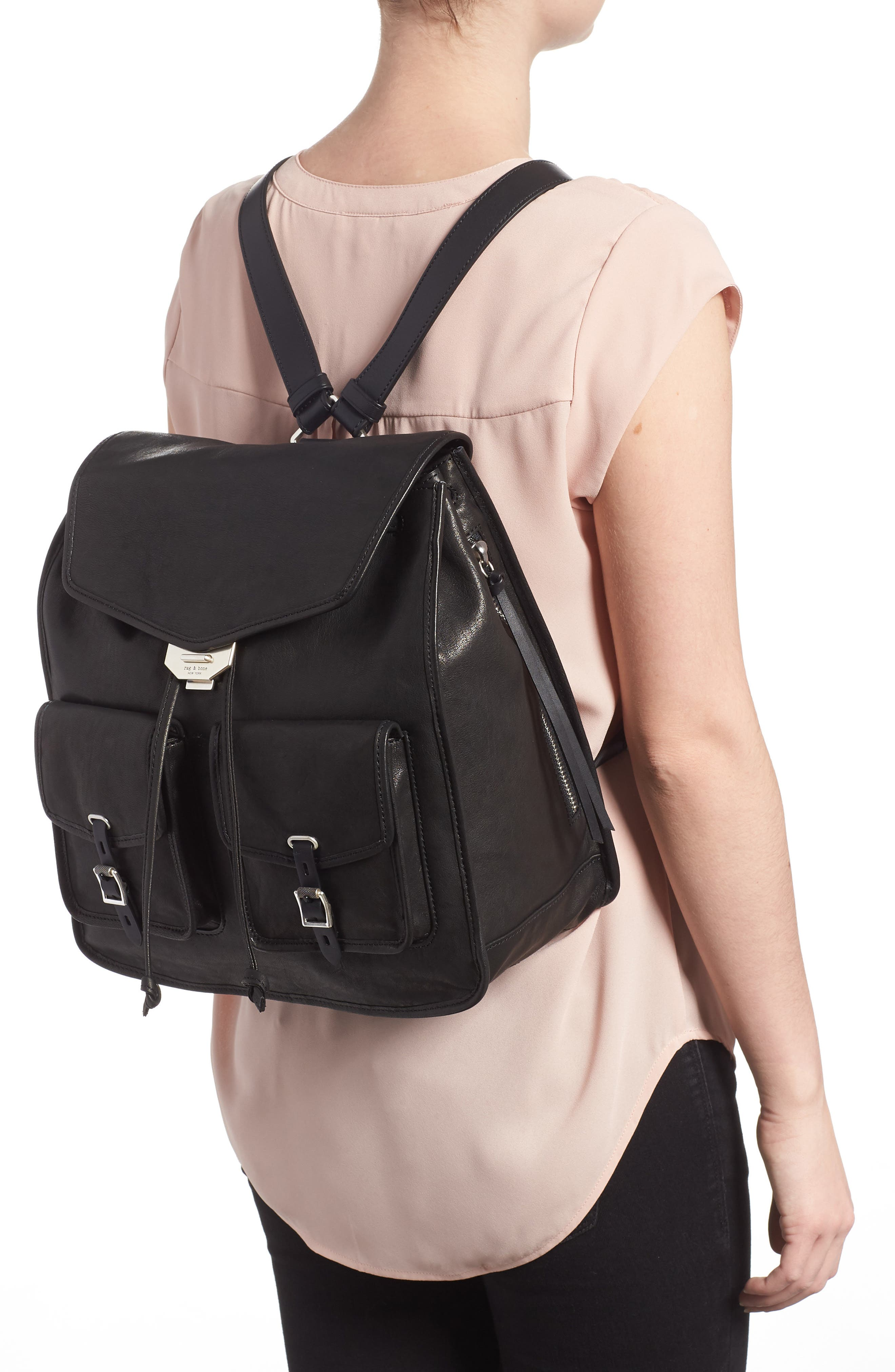 Field Lambskin Leather Backpack,                             Alternate thumbnail 2, color,                             BLACK