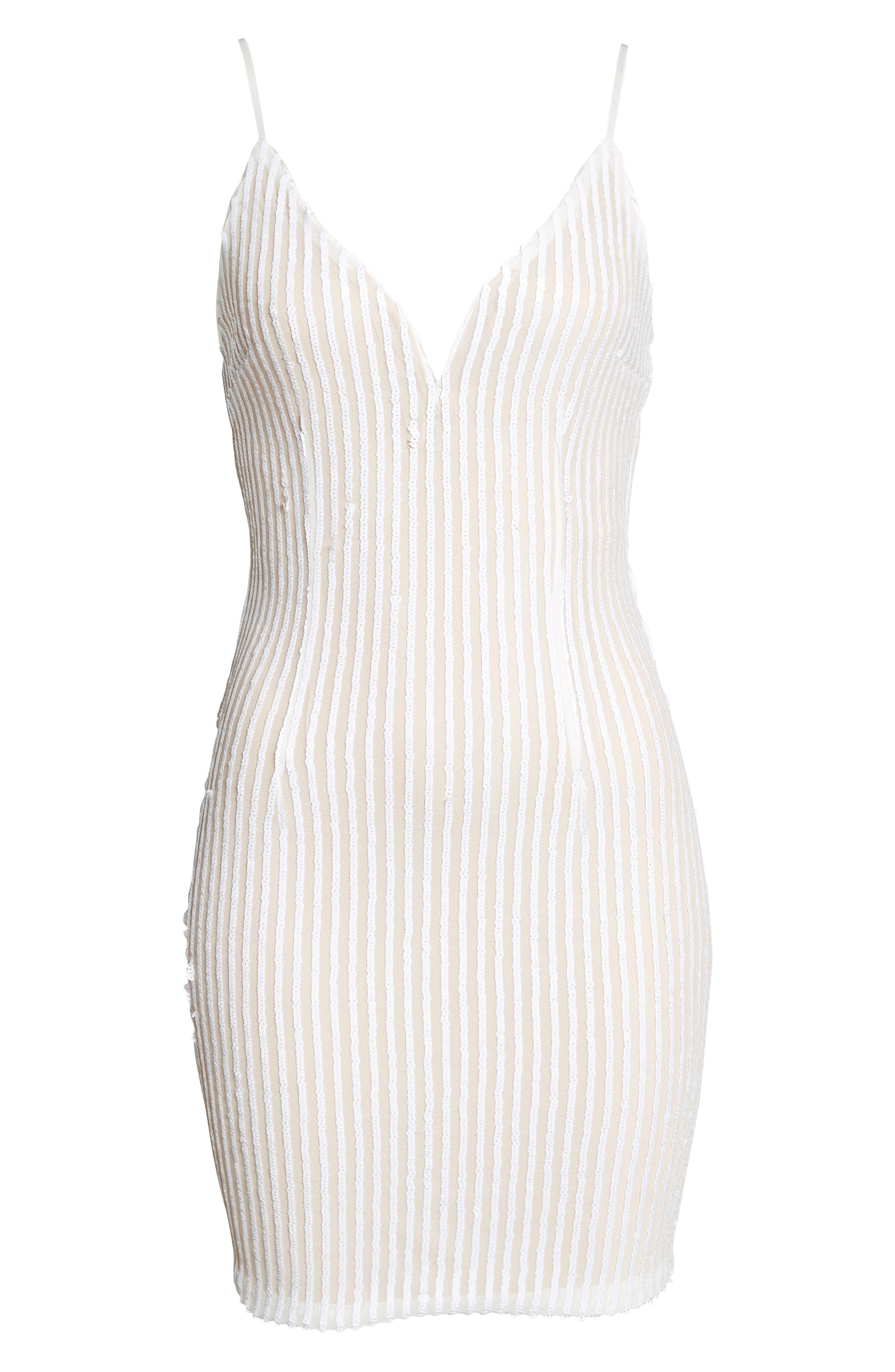 Tiffany Sequin Stripe Sheath Dress,                             Alternate thumbnail 7, color,                             WHITE