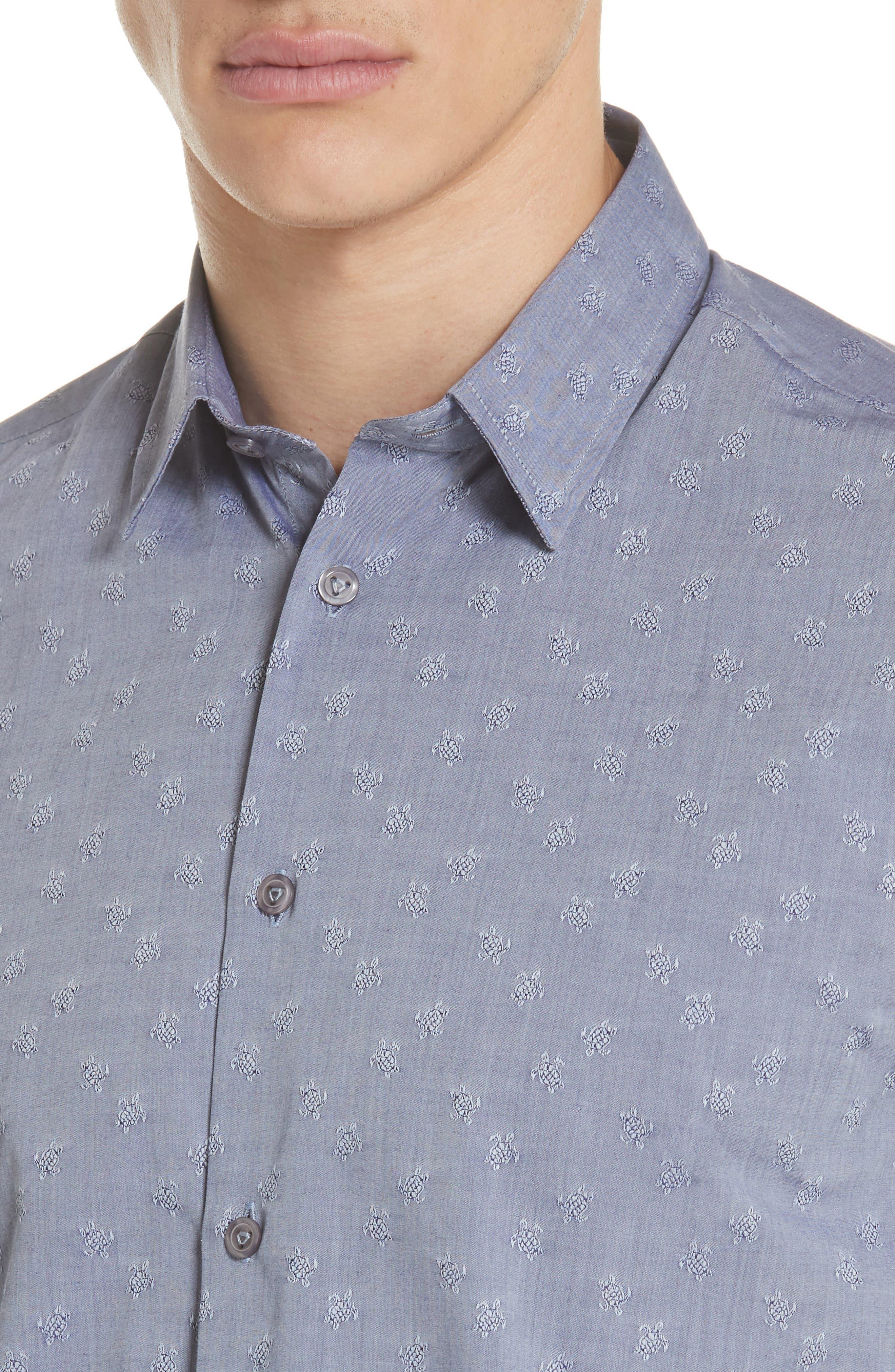 Turtle Jacquard Sport Shirt,                             Alternate thumbnail 4, color,                             NAVY