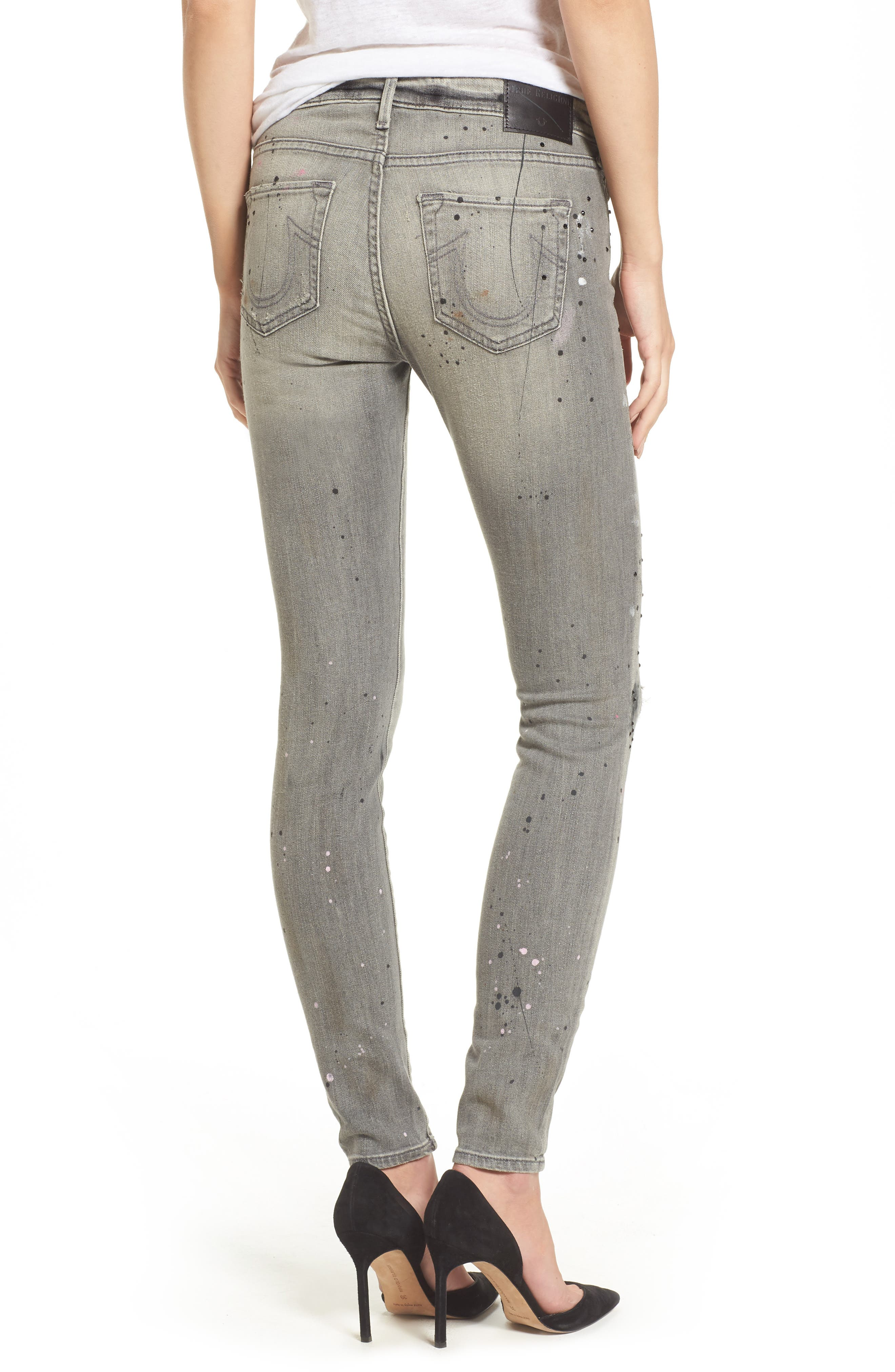 Halle Paint Splatter Skinny Jeans,                             Alternate thumbnail 2, color,                             021