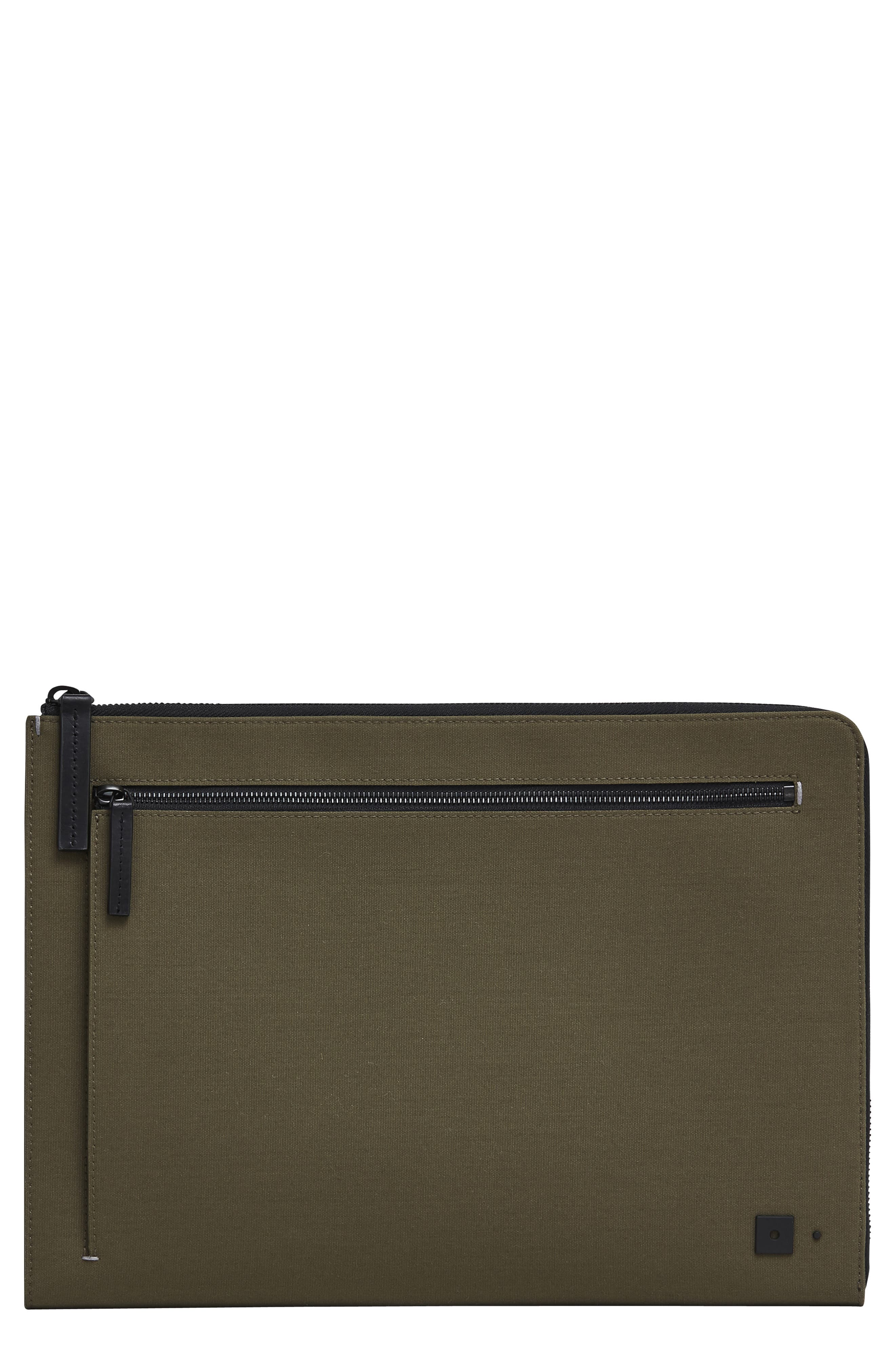 Portfolio Case,                         Main,                         color, KHAKI CANVAS/ BLACK LEATHER