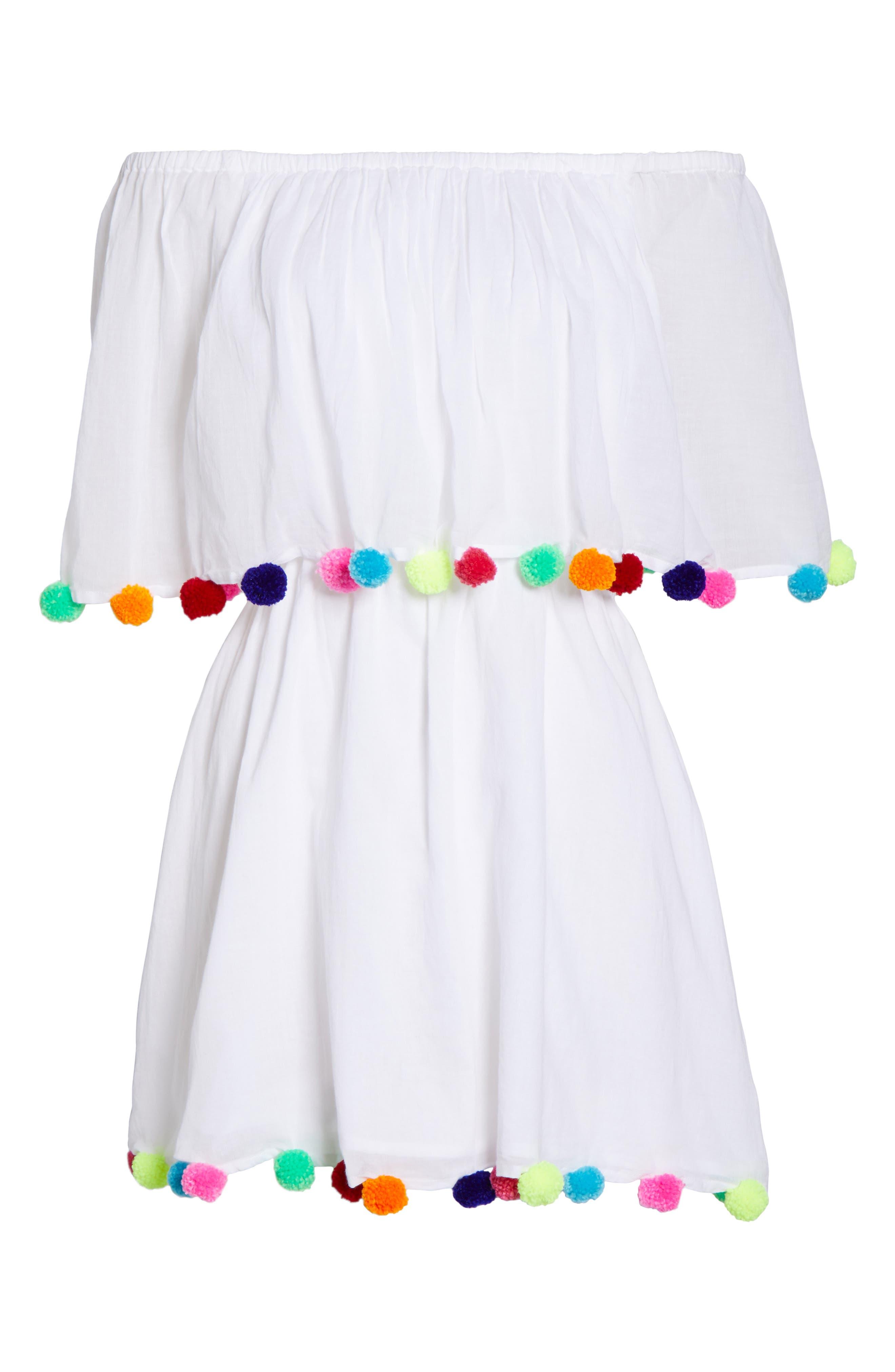 Pompom Festival Cover-Up Dress,                             Alternate thumbnail 6, color,                             100