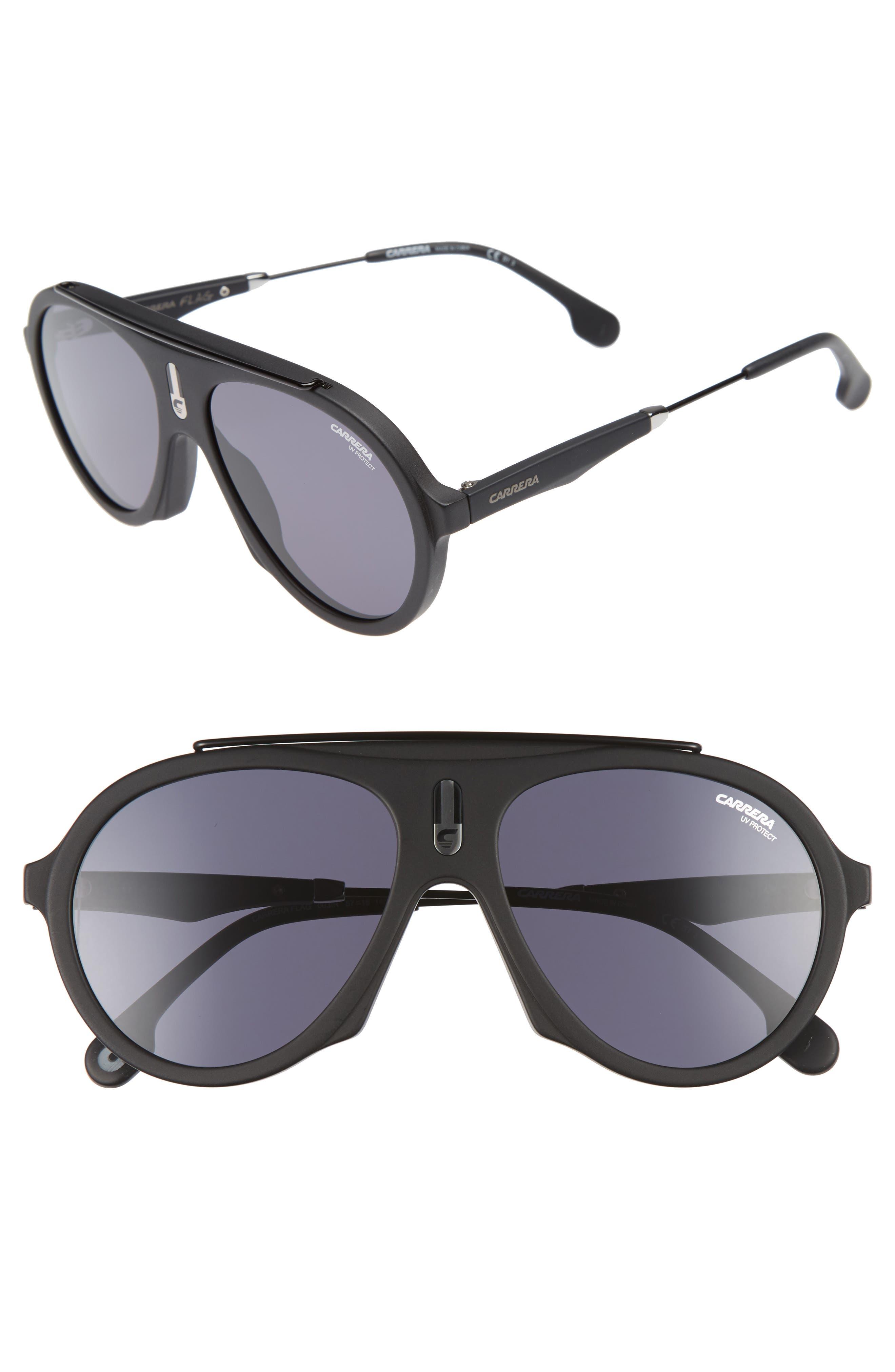 Carrera Flag 57mm Mirrored Pilot Sunglasses,                         Main,                         color,