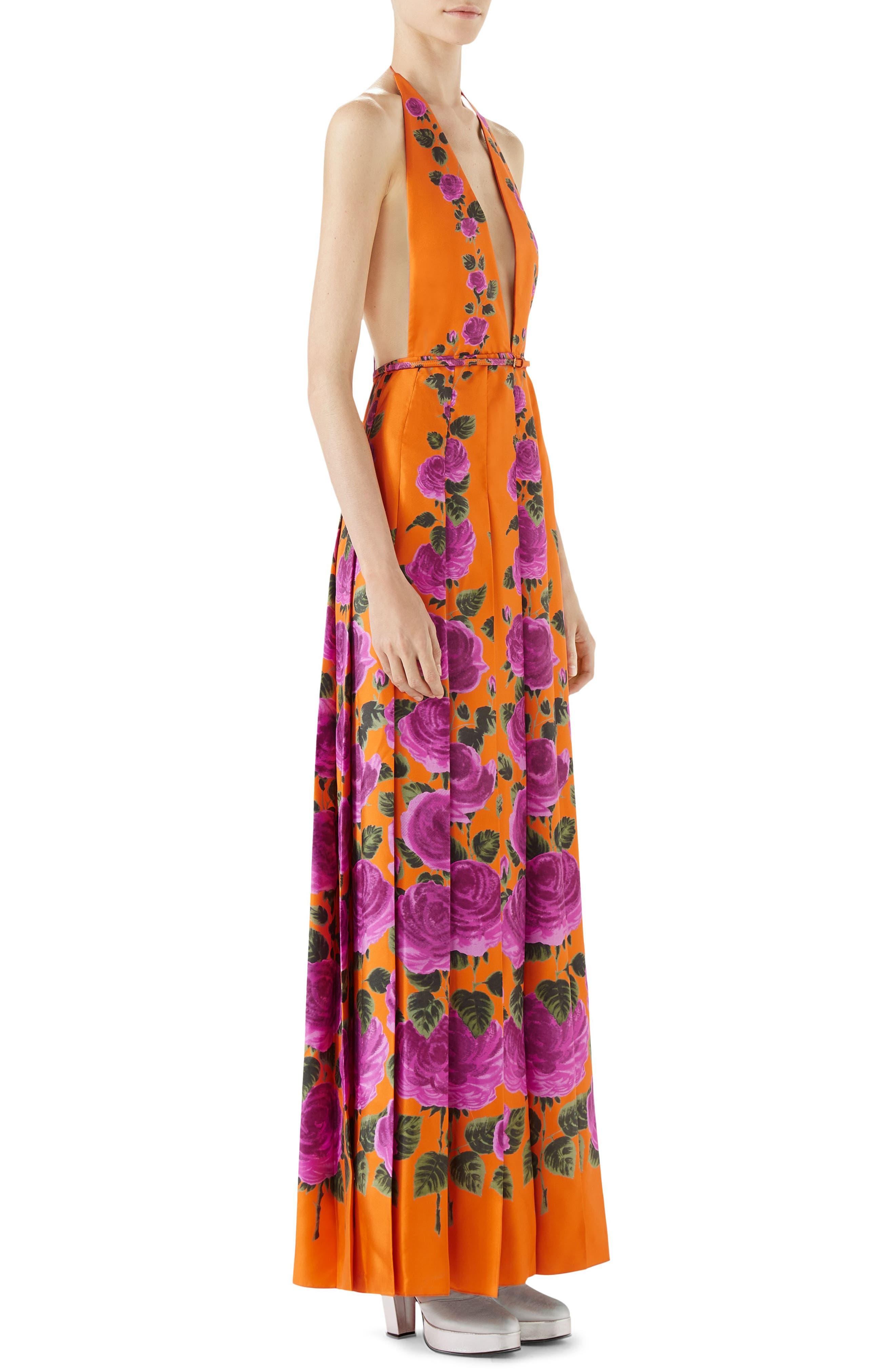 Rose Print Silk Halter Maxi Dress,                             Alternate thumbnail 3, color,                             ORANGE-PINK