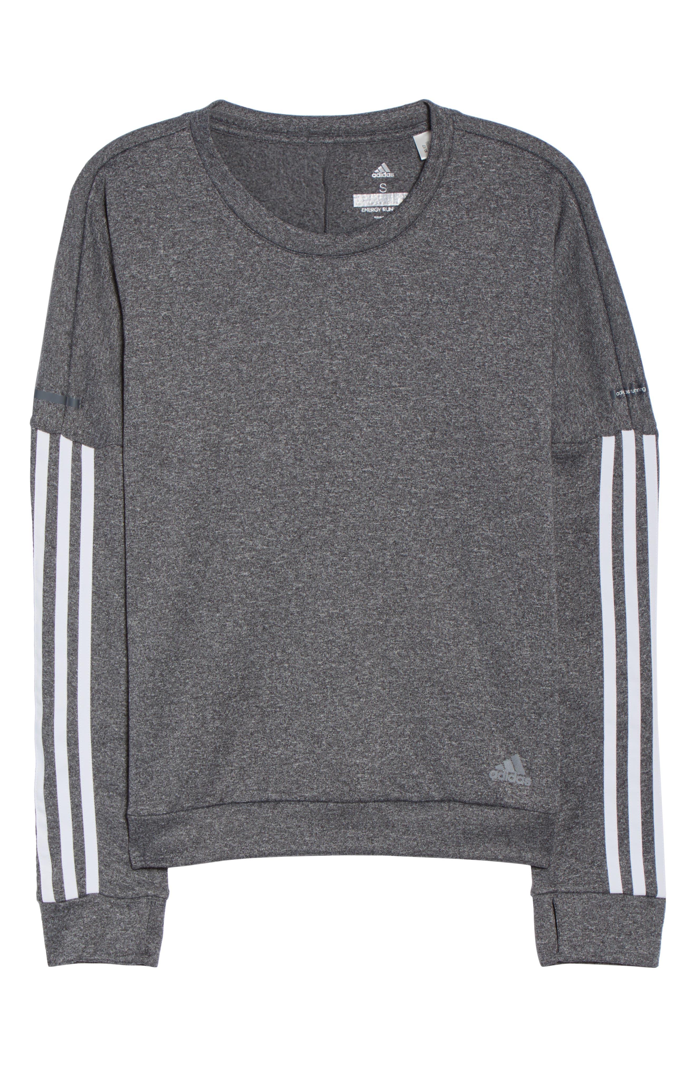 3-Stripes Running Sweatshirt,                             Alternate thumbnail 7, color,                             DARK GREY HEATHER