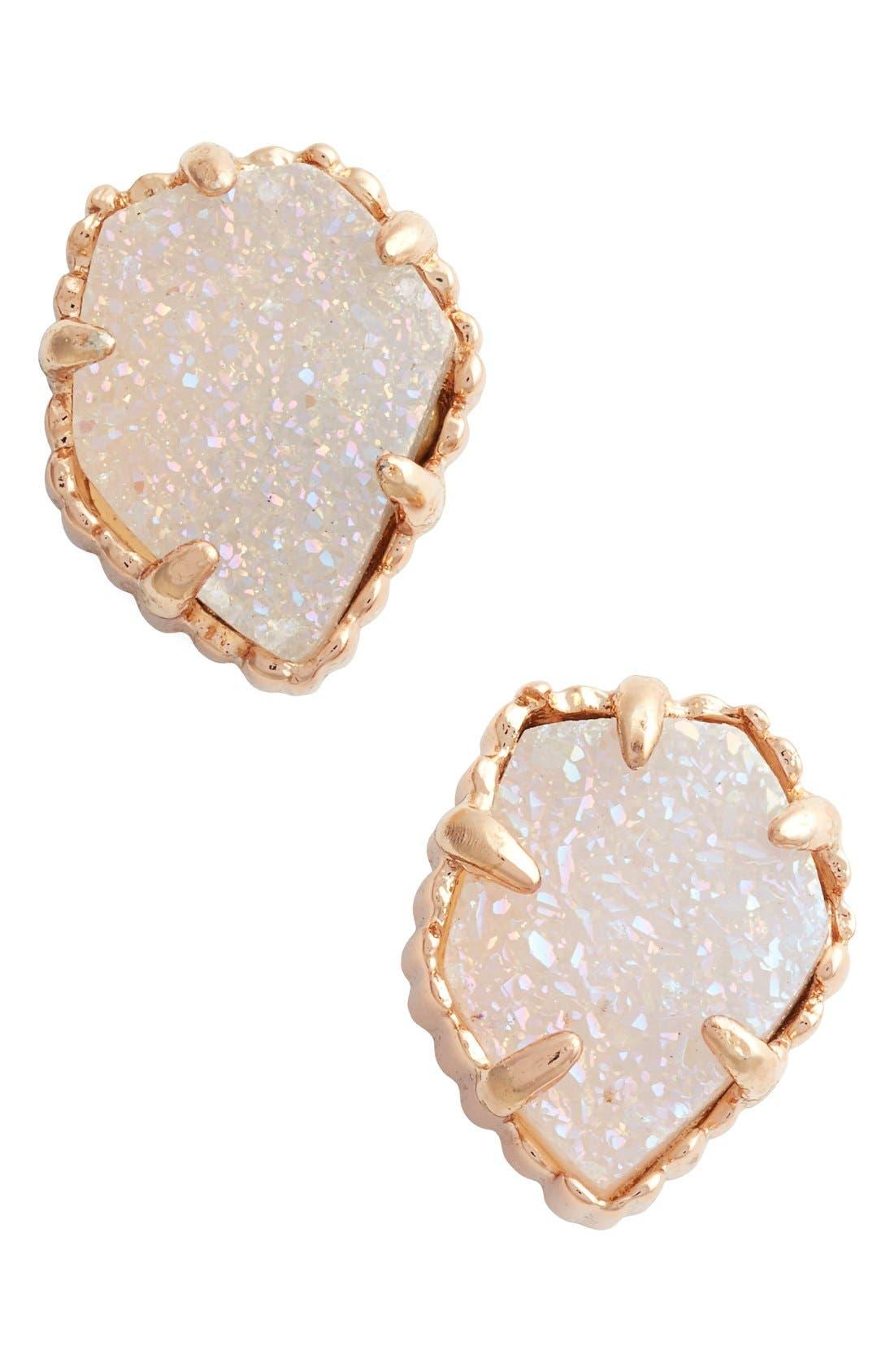 Tessa Stone Stud Earrings,                         Main,                         color, IRIDESCENT DRUSY/ ROSE GOLD