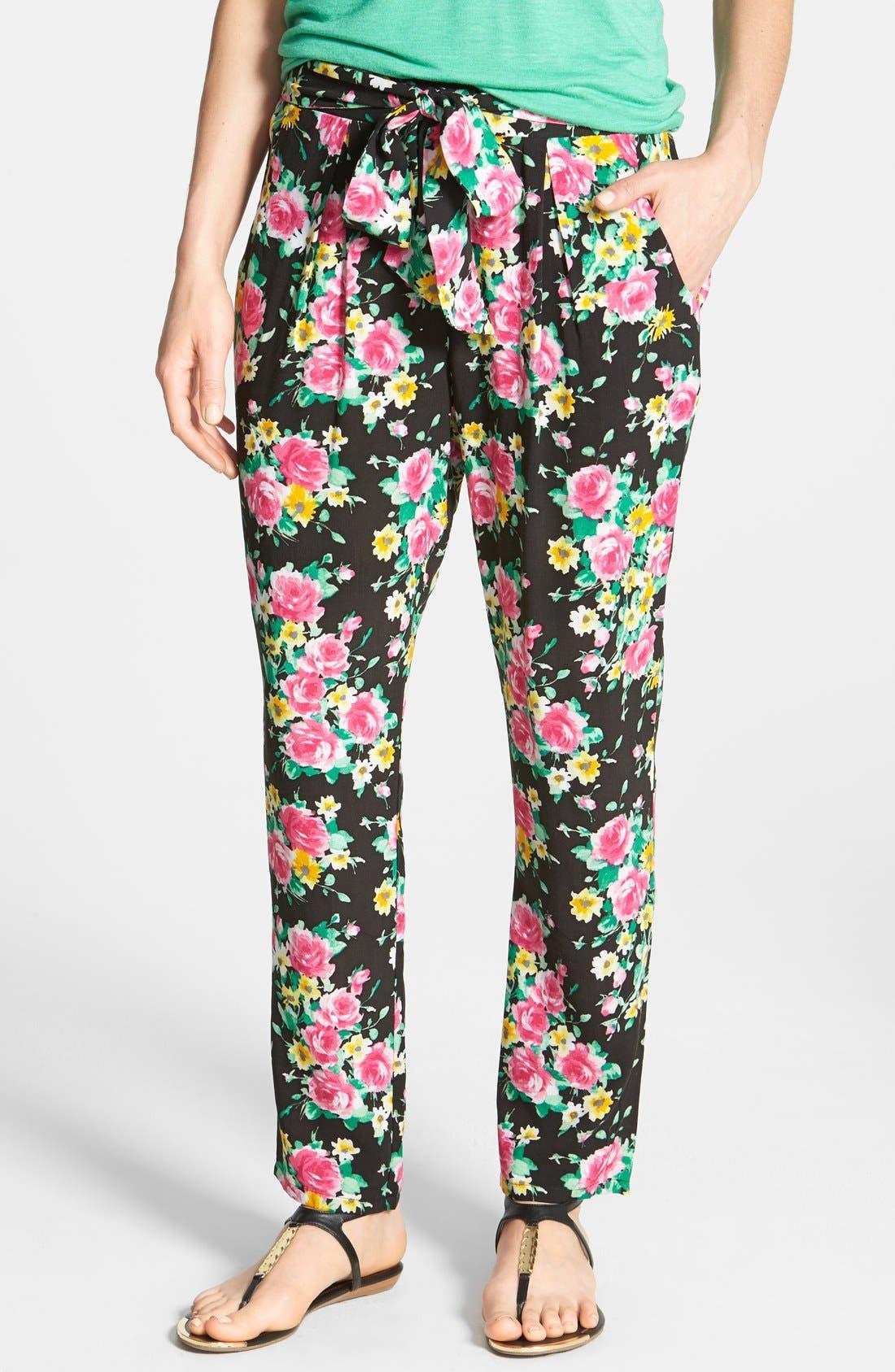 Floral Tie Waist Pants,                             Main thumbnail 1, color,                             001