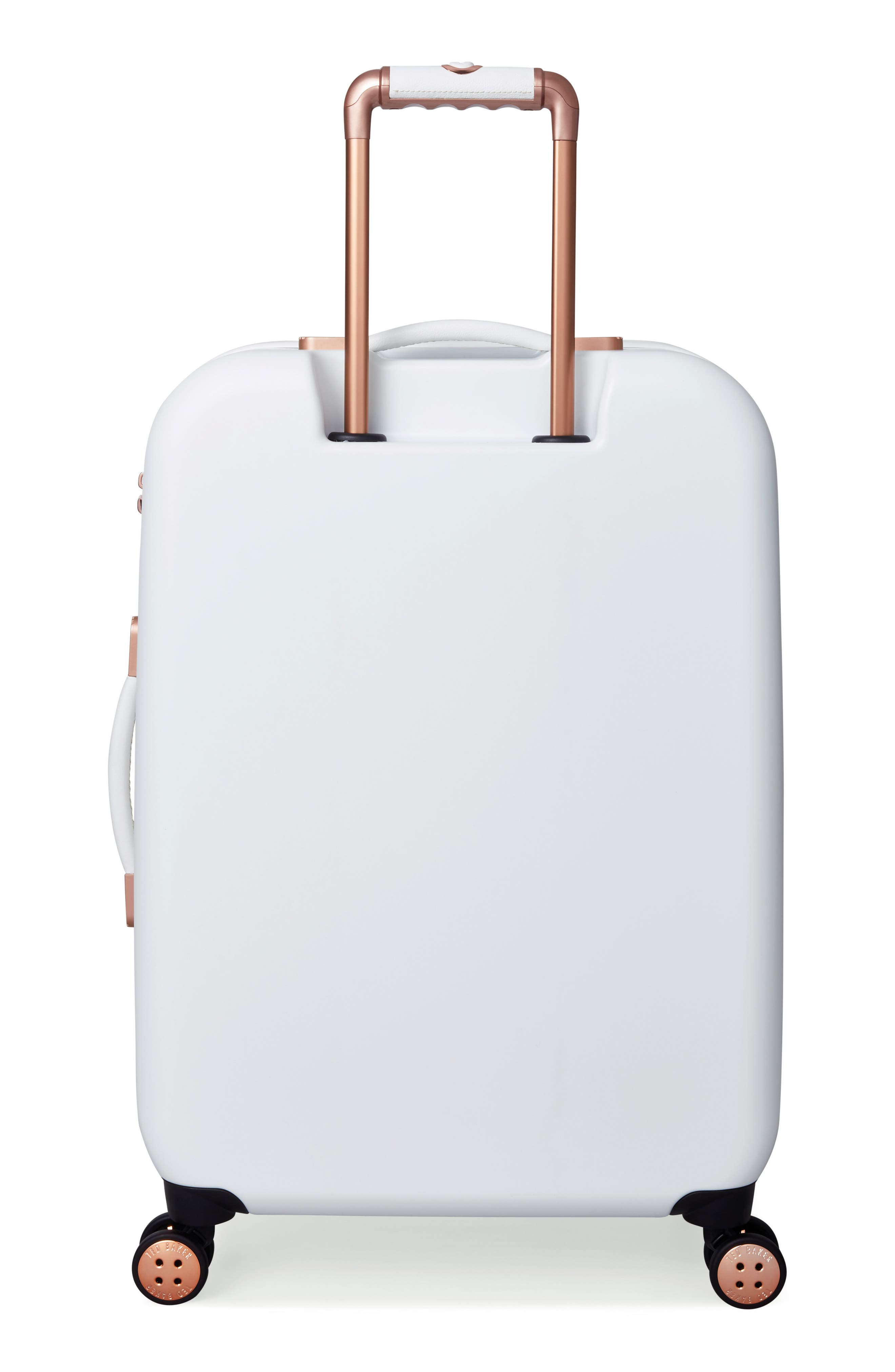 Medium Beau Bow Embossed Four-Wheel 27-Inch Trolley Suitcase,                             Alternate thumbnail 4, color,                             WHITE
