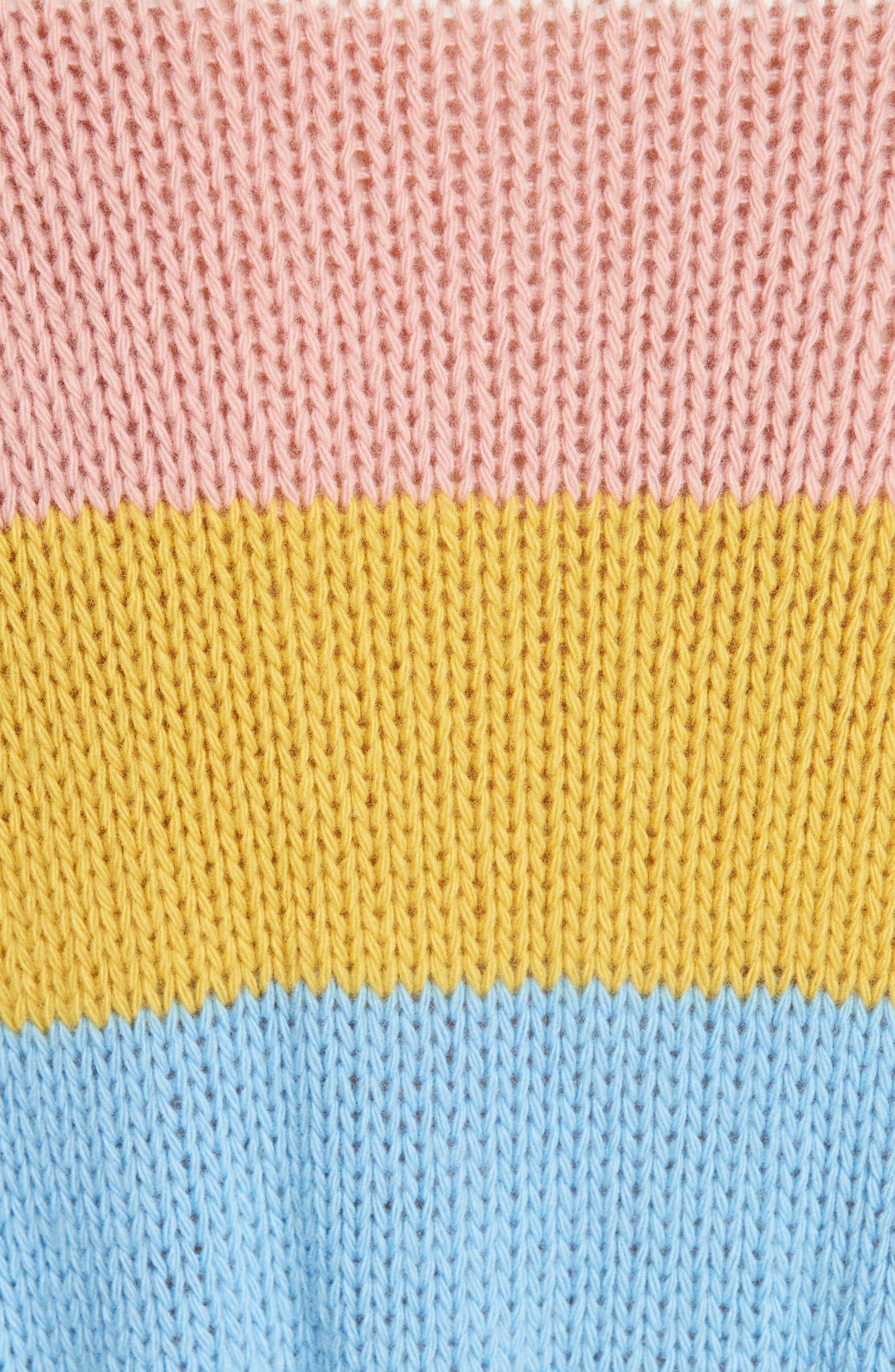 RED VALENTINO,                             Ruffle Hem Stripe Wool Sweater,                             Alternate thumbnail 5, color,                             110