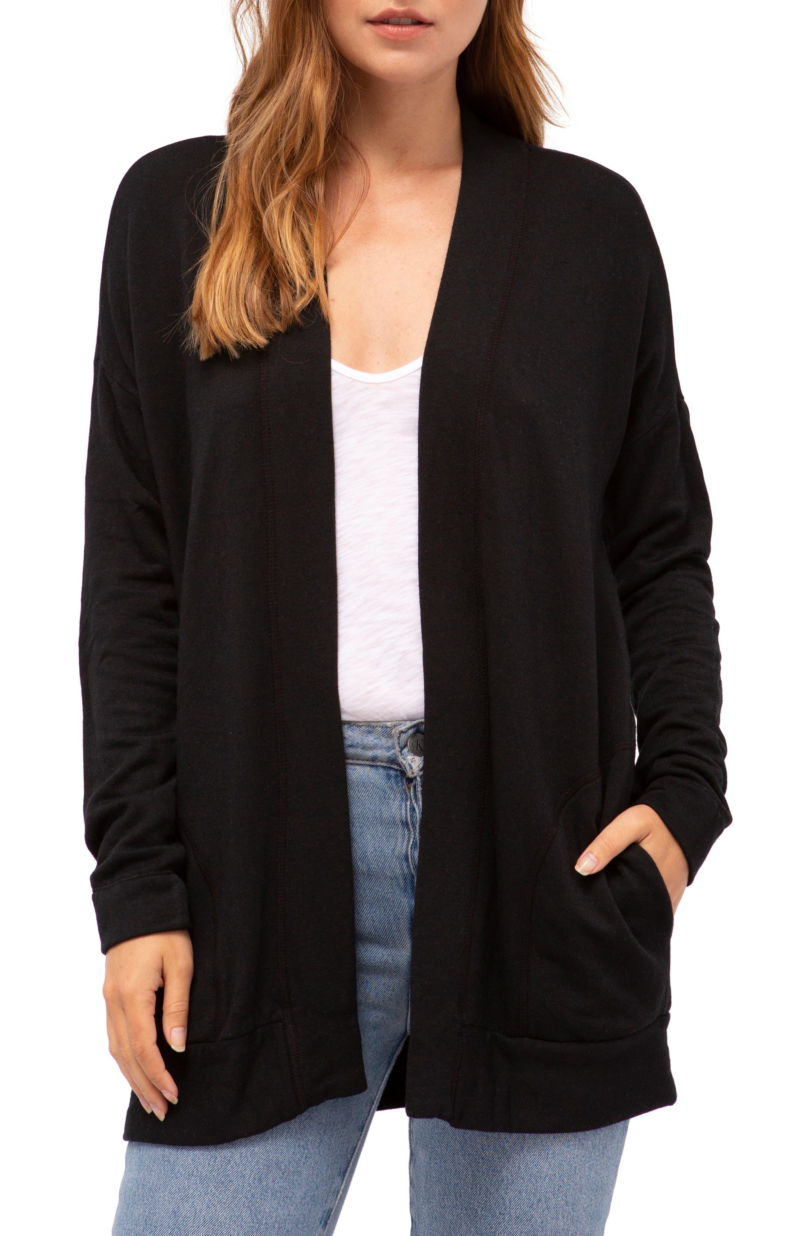 Fleece Open Cardigan,                         Main,                         color, BLACK