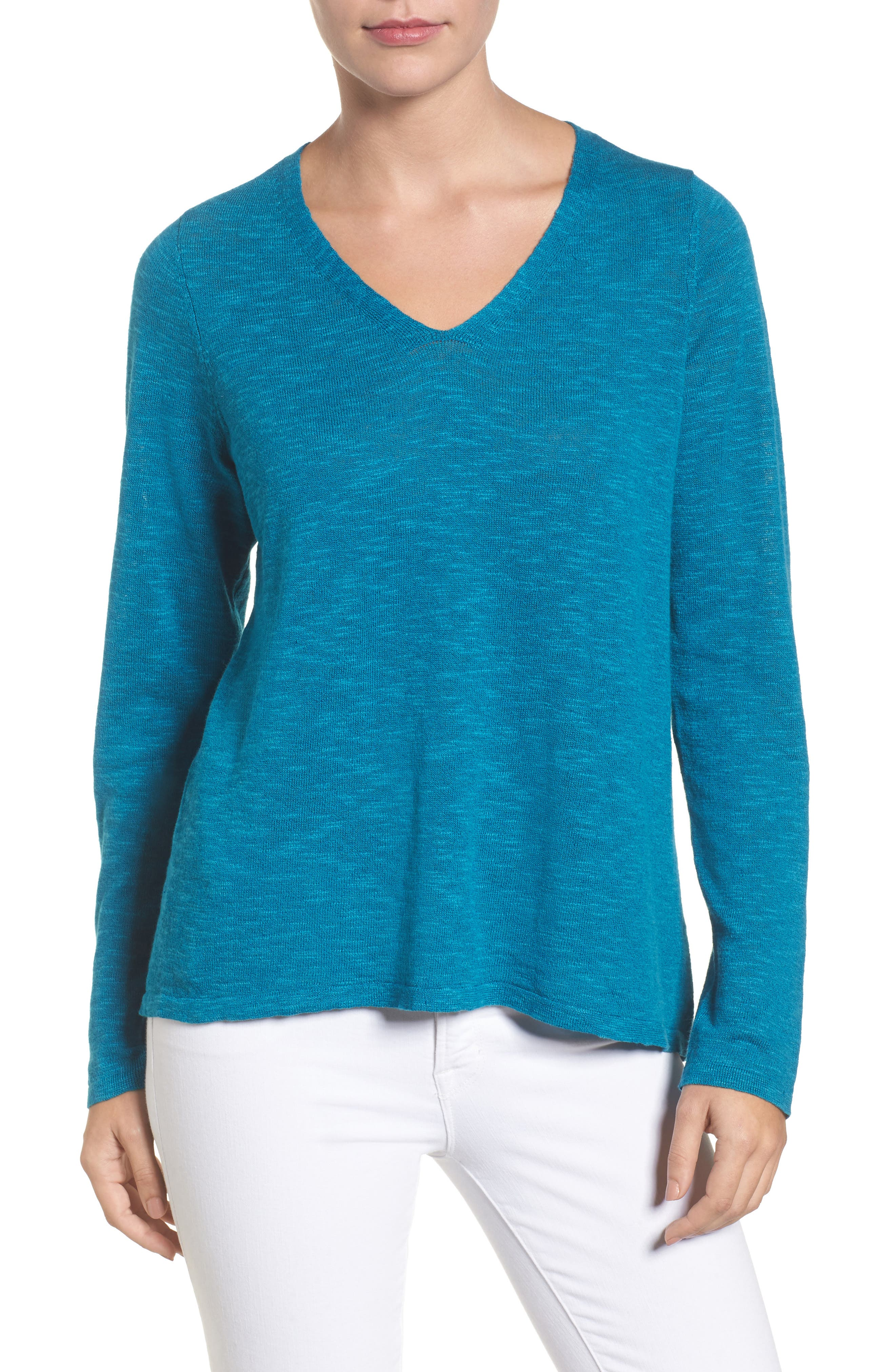 Organic Linen & Cotton V-Neck Sweater,                             Main thumbnail 3, color,