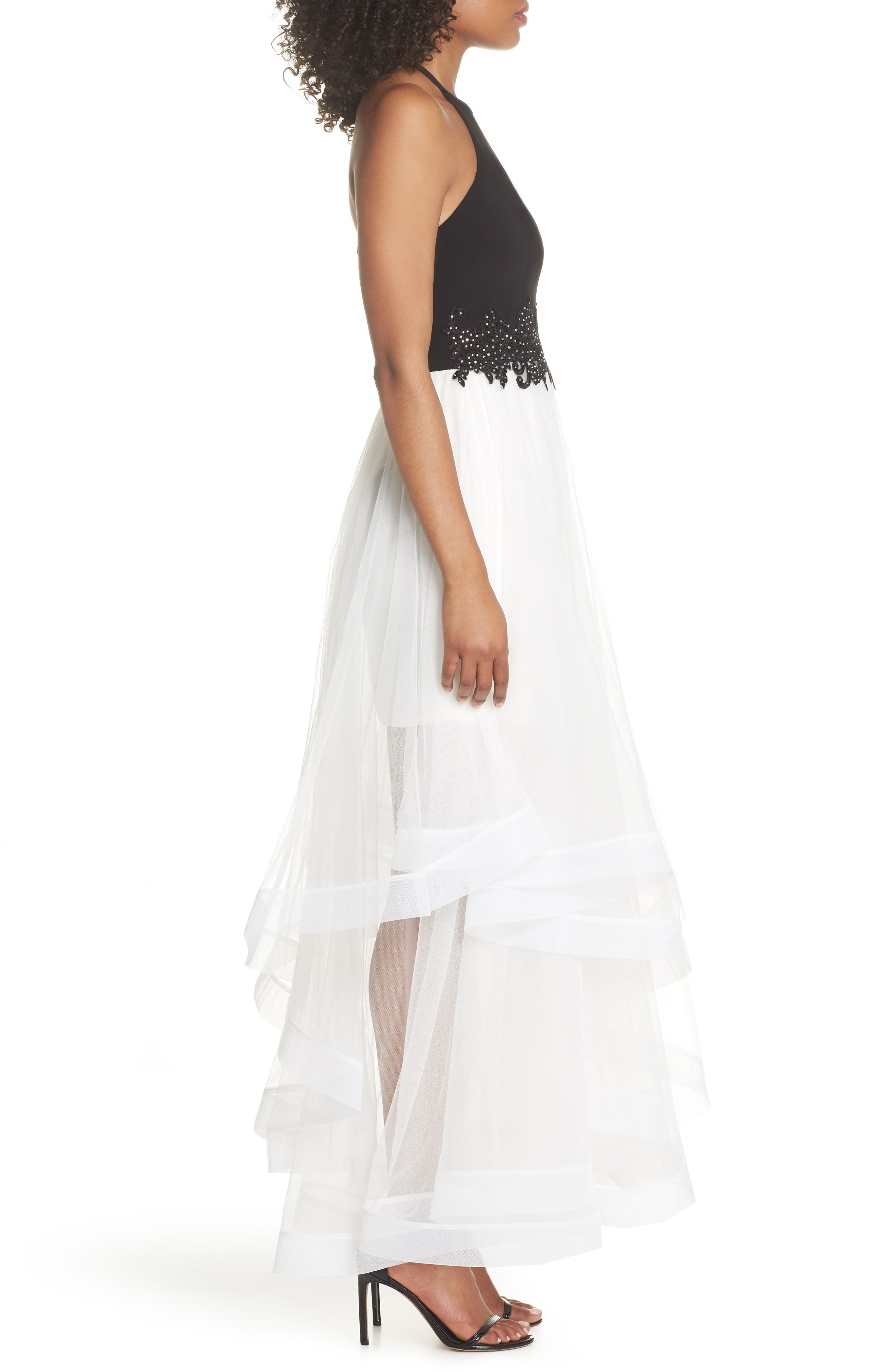 Appliqué Tiered Gown,                             Alternate thumbnail 3, color,                             BLACK/ IVORY