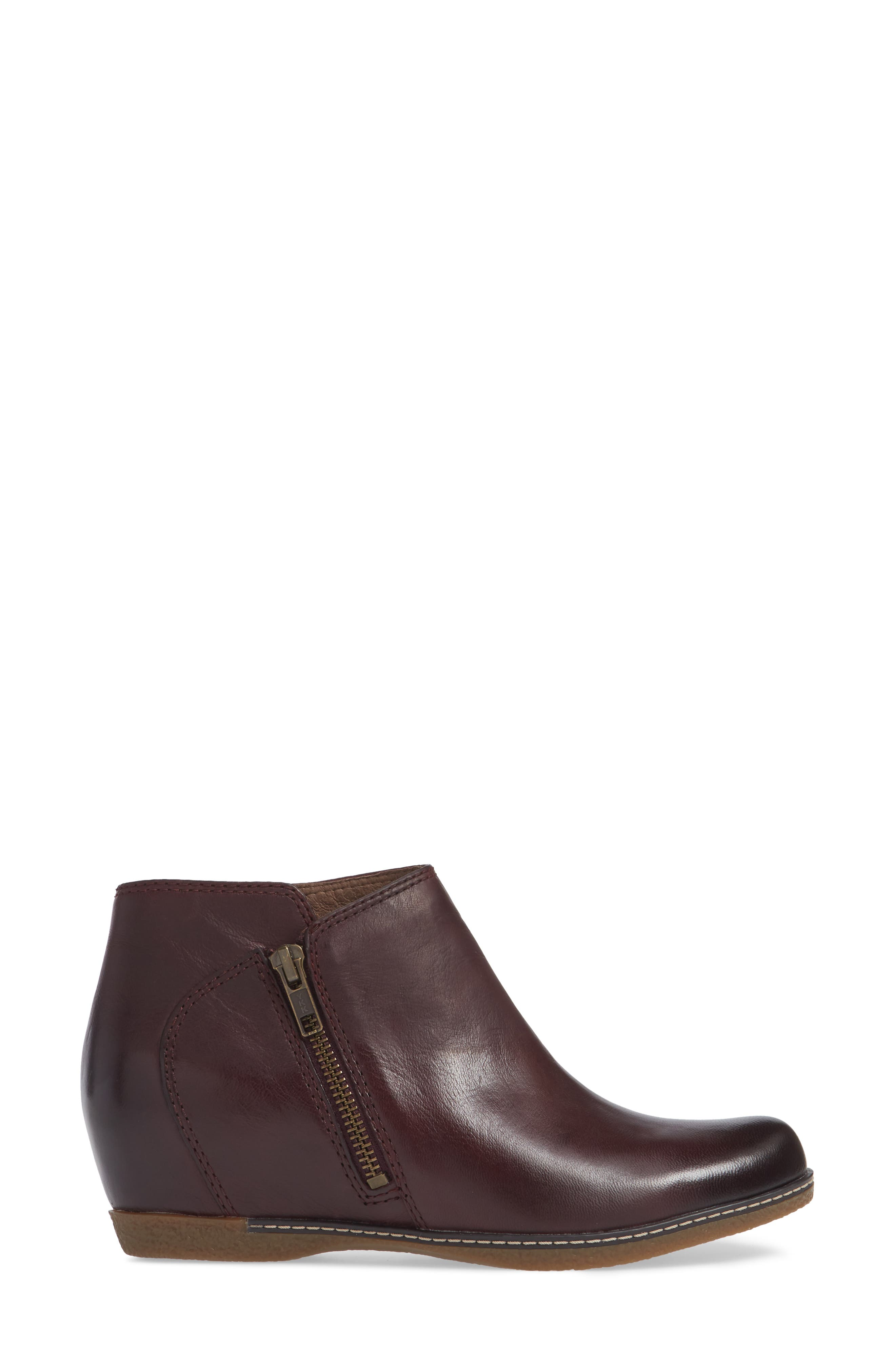 Leyla Bootie,                             Alternate thumbnail 3, color,                             WINE BURNISHED LEATHER